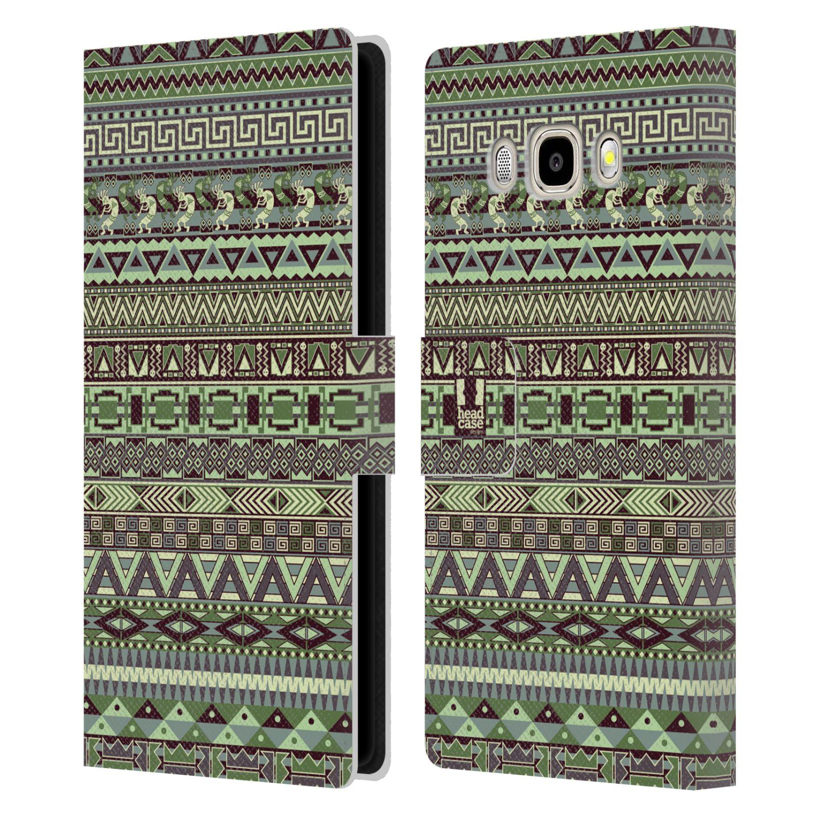 HEAD CASE Flipové pouzdro pro mobil Samsung Galaxy J5 2016 Indiánský vzor GREEN zelená