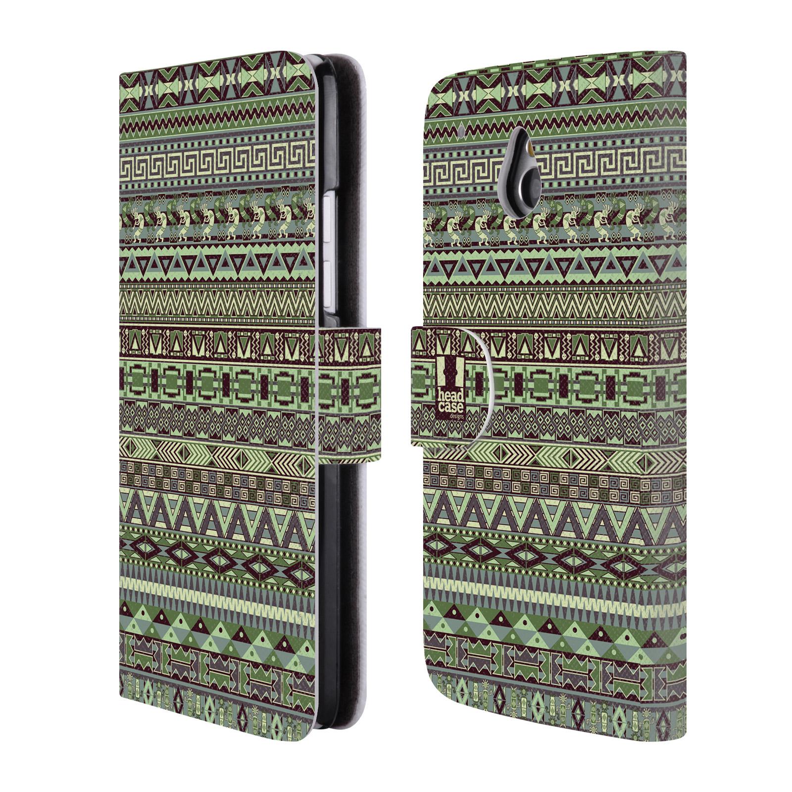 HEAD CASE Flipové pouzdro pro mobil HTC ONE MINI (M4) Indiánský vzor GREEN zelená