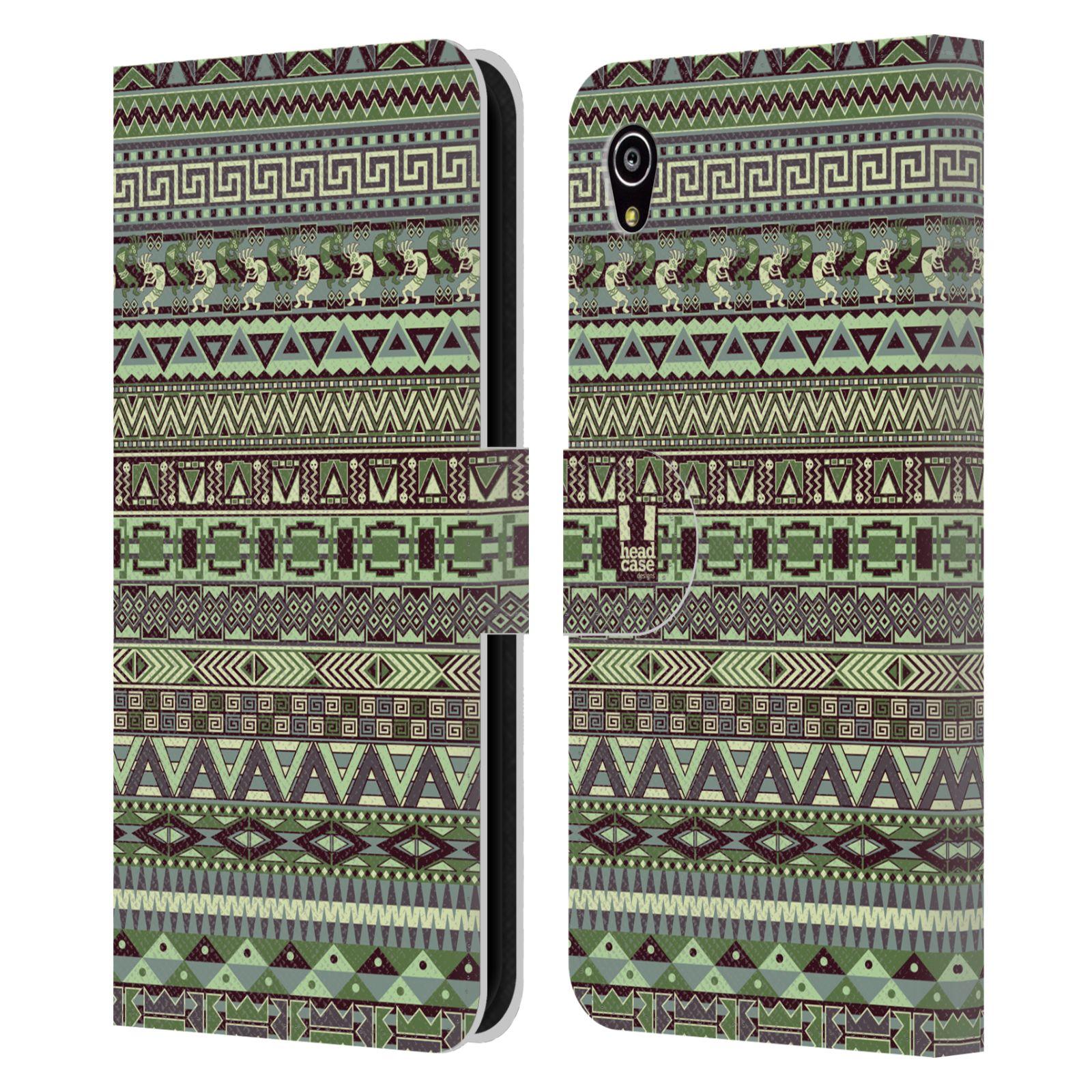 HEAD CASE Flipové pouzdro pro mobil SONY XPERIA M4 AQUA Indiánský vzor GREEN zelená