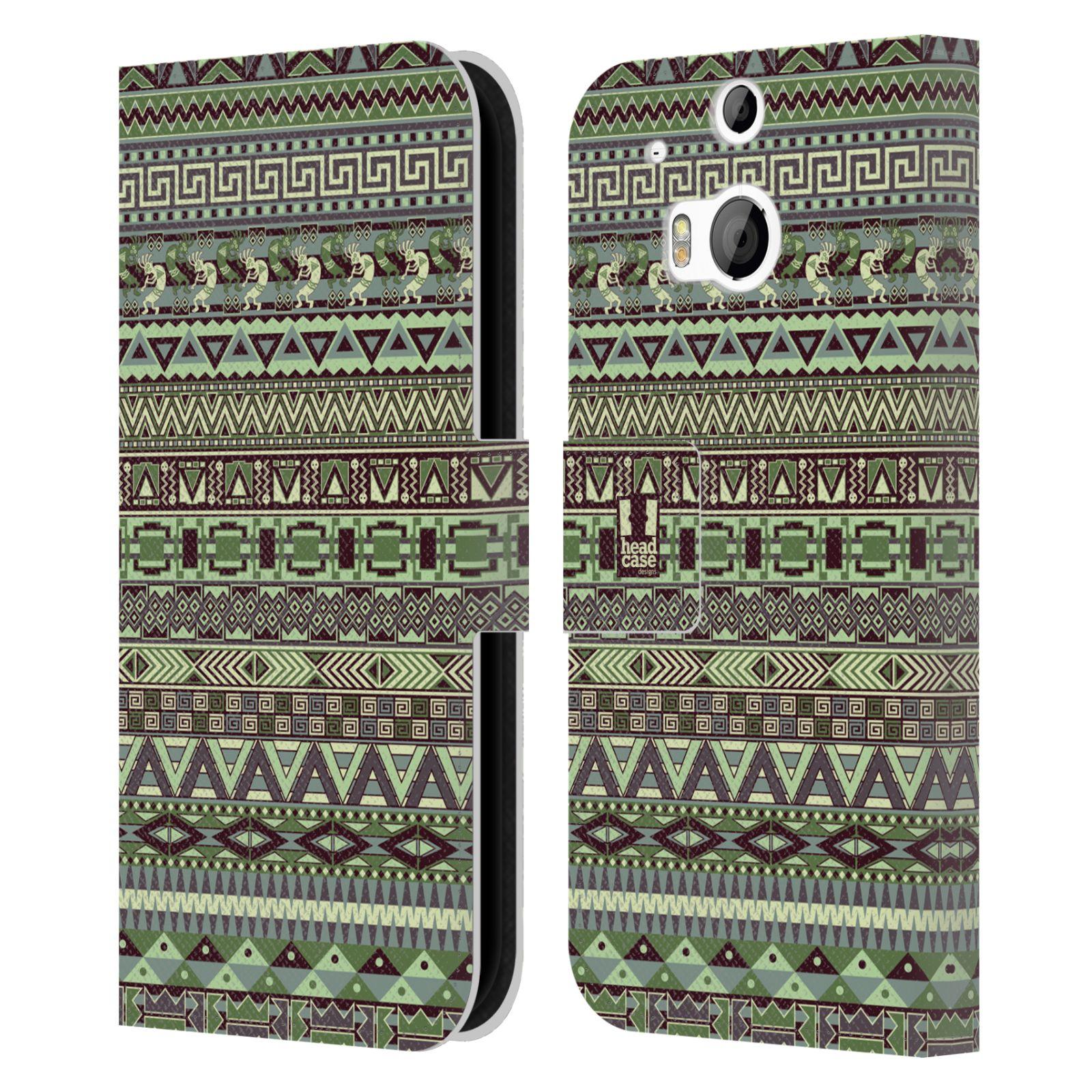 HEAD CASE Flipové pouzdro pro mobil HTC ONE (M8, M8s) Indiánský vzor GREEN zelená