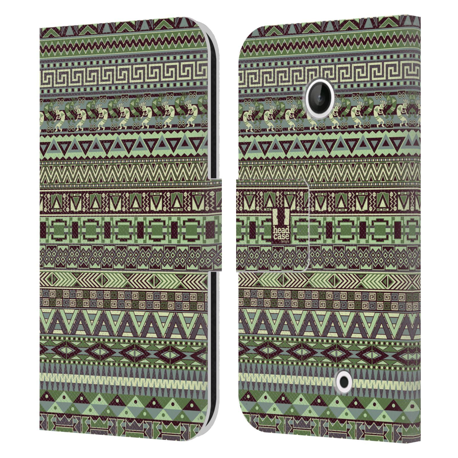 HEAD CASE Flipové pouzdro pro mobil NOKIA LUMIA 630 / LUMIA 630 DUAL Indiánský vzor GREEN zelená