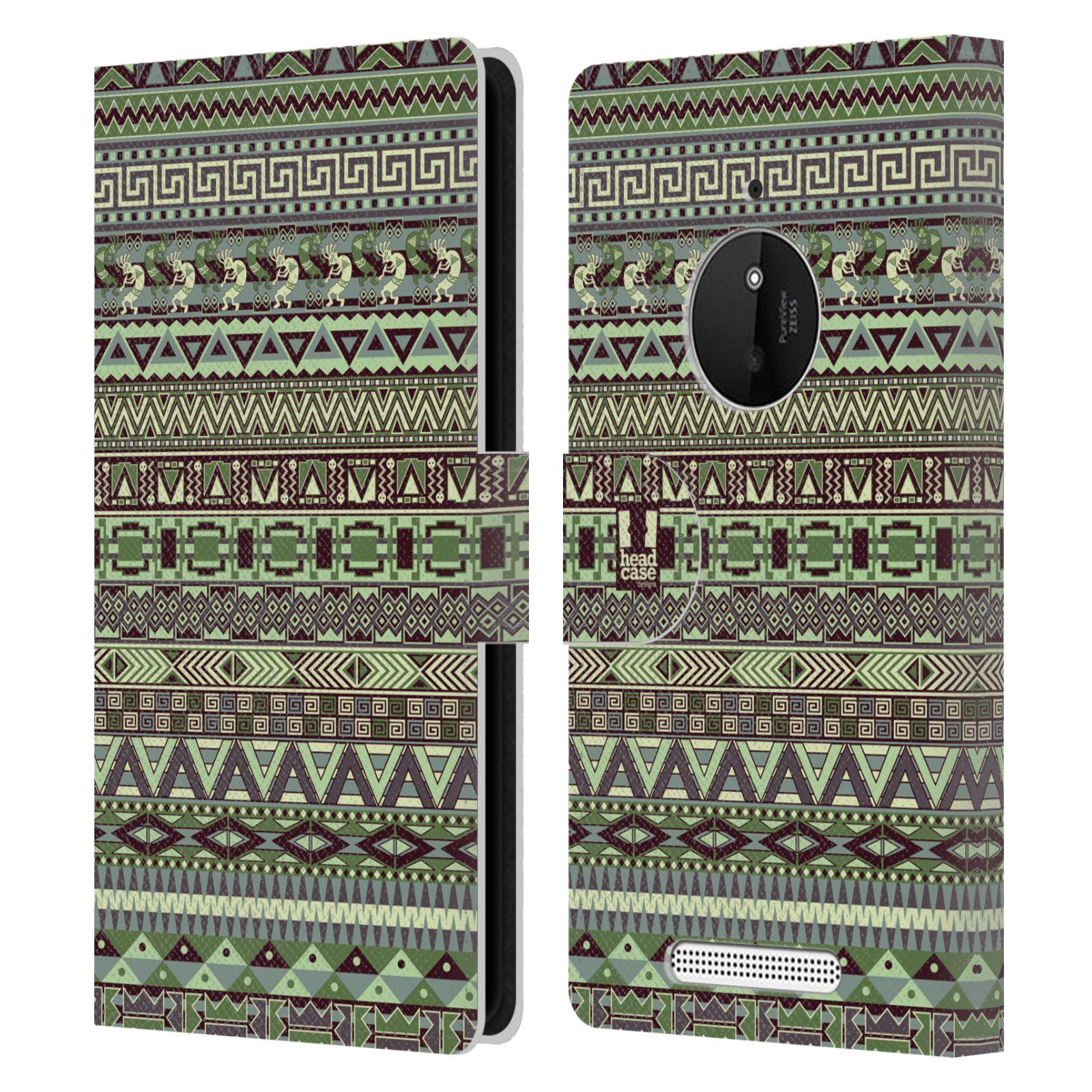 HEAD CASE Flipové pouzdro pro mobil NOKIA LUMIA 830 Indiánský vzor GREEN zelená