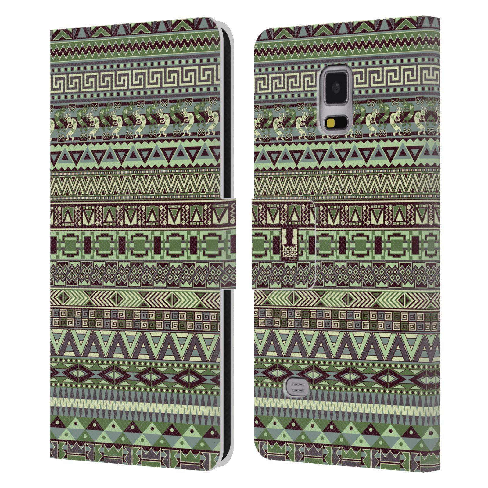 HEAD CASE Flipové pouzdro pro mobil Samsung Galaxy Note 4 Indiánský vzor GREEN zelená