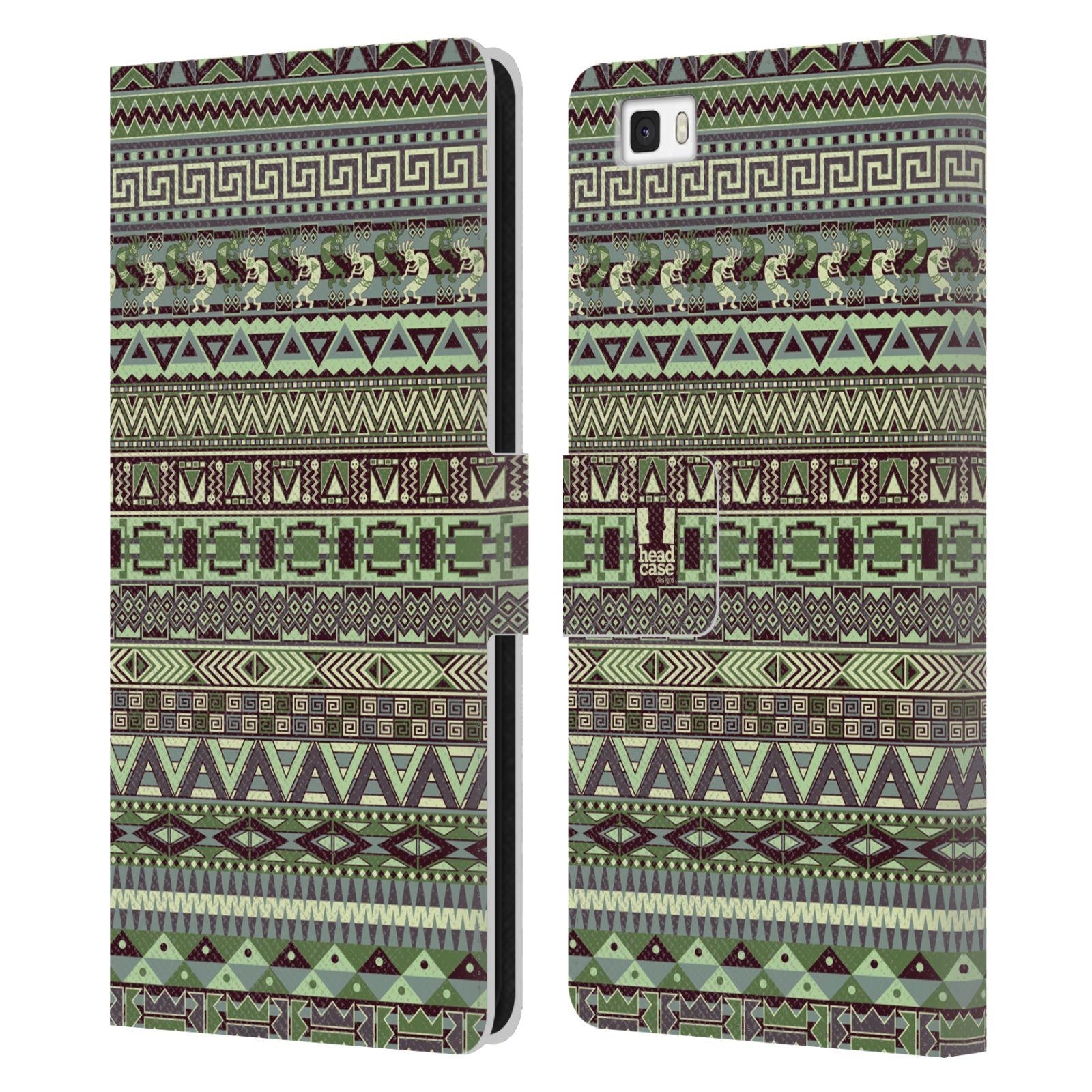 HEAD CASE Flipové pouzdro pro mobil Huawei P8 LITE Indiánský vzor GREEN zelená