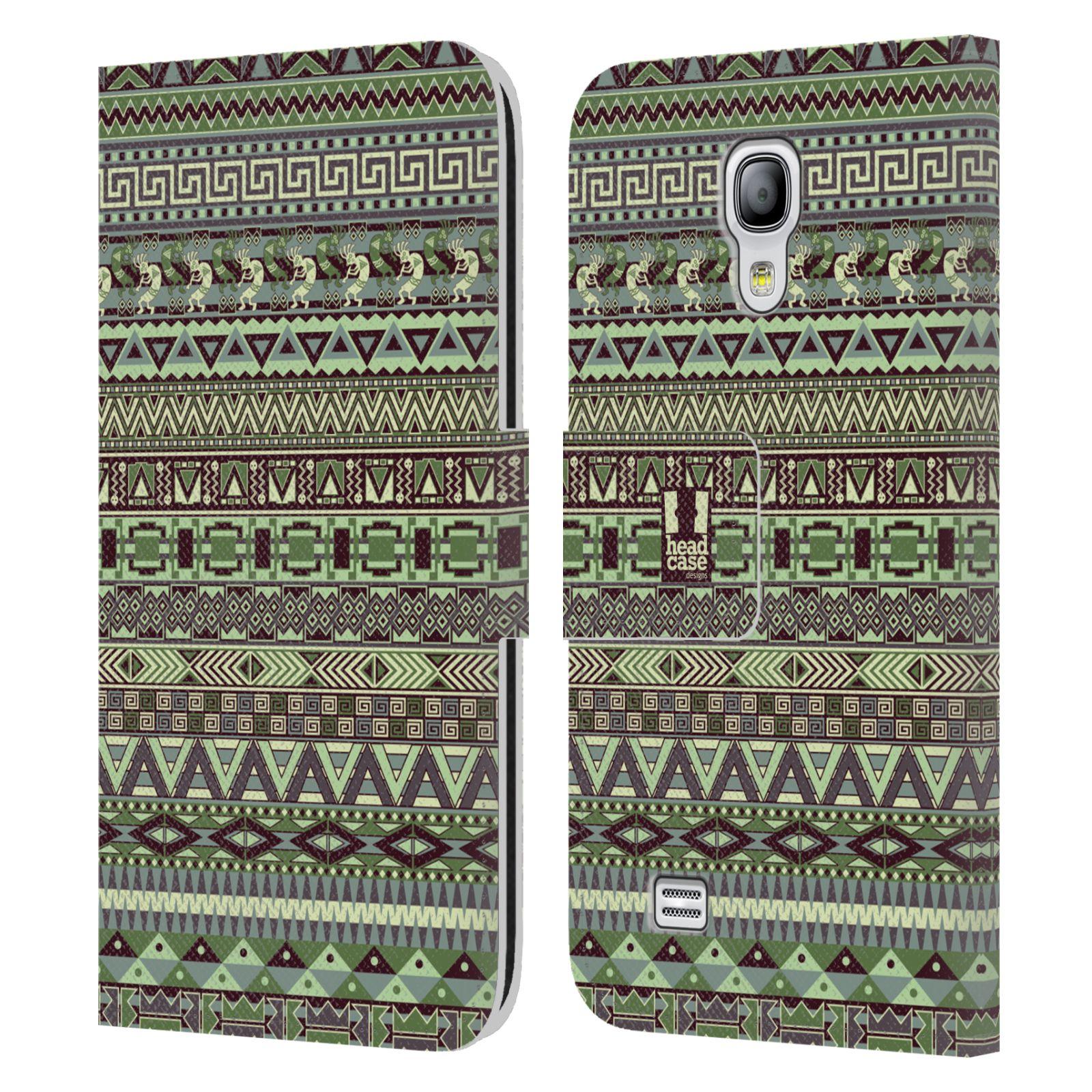 HEAD CASE Flipové pouzdro pro mobil Samsung Galaxy S4 MINI / S4 MINI DUOS Indiánský vzor GREEN zelená