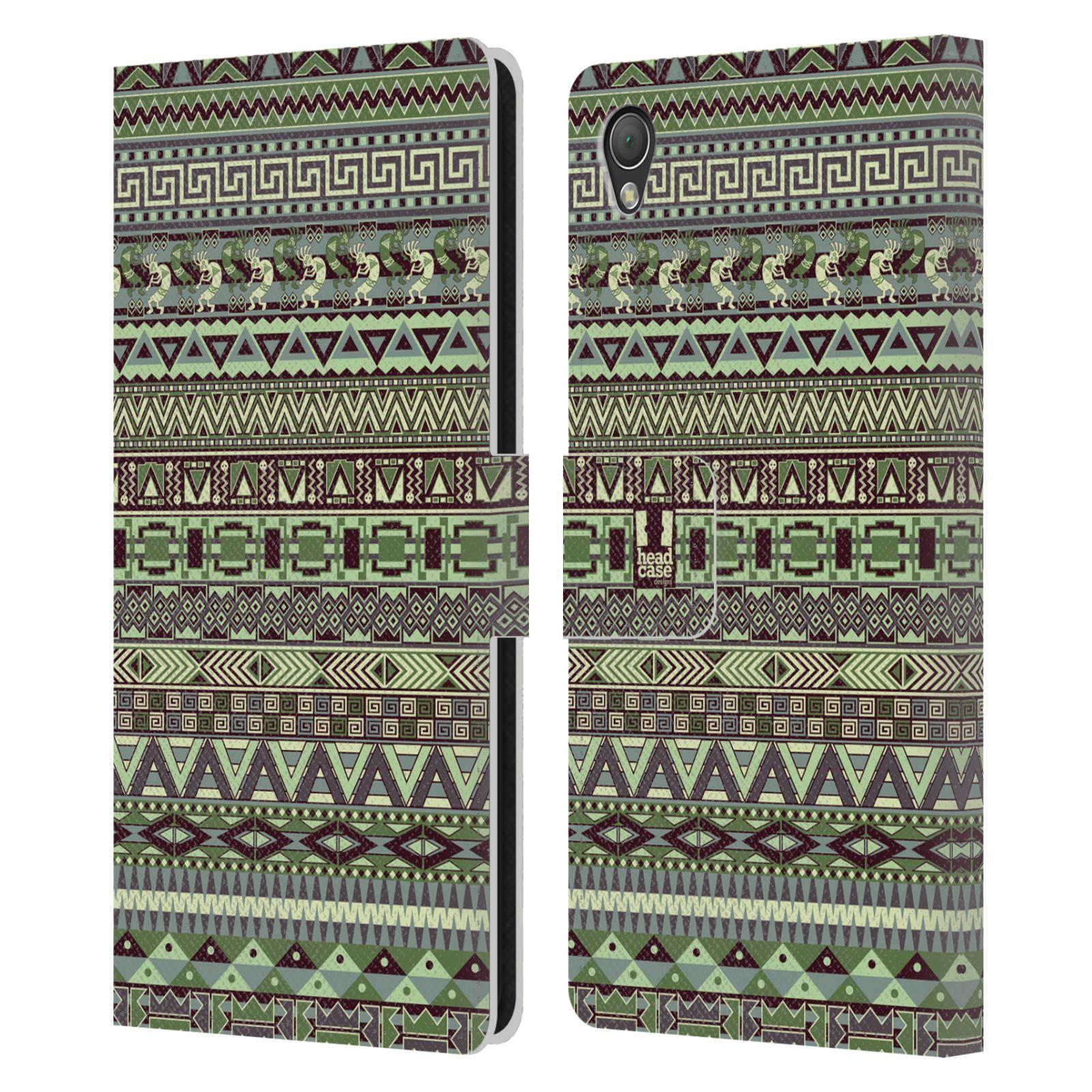 HEAD CASE Flipové pouzdro pro mobil SONY XPERIA Z3 Indiánský vzor GREEN zelená