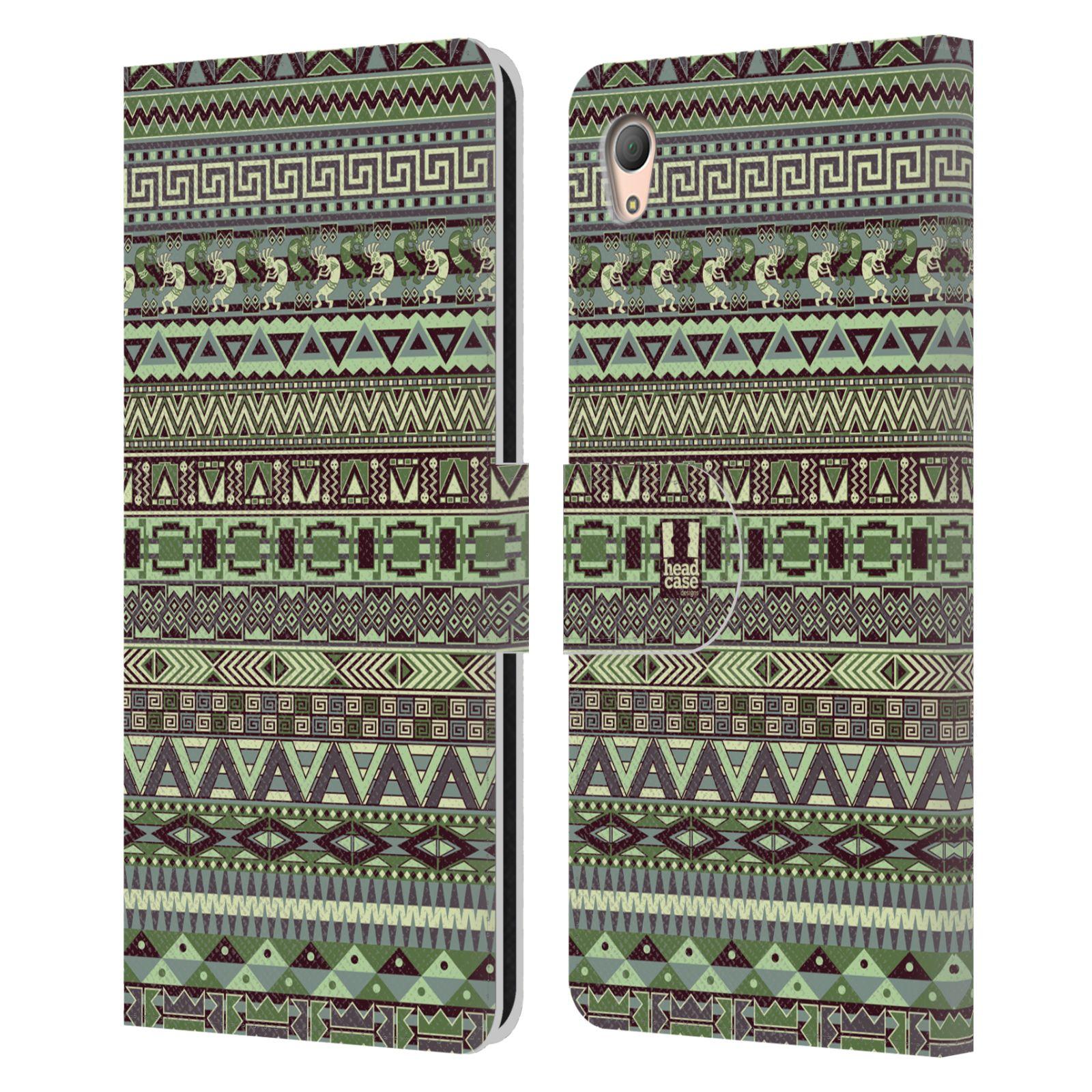 HEAD CASE Flipové pouzdro pro mobil SONY XPERIA Z3+ (PLUS) Indiánský vzor GREEN zelená