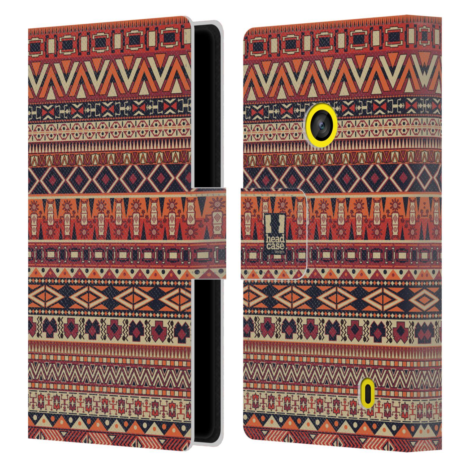 HEAD CASE Flipové pouzdro pro mobil NOKIA LUMIA 520 / 525 Indiánský vzor RED červená
