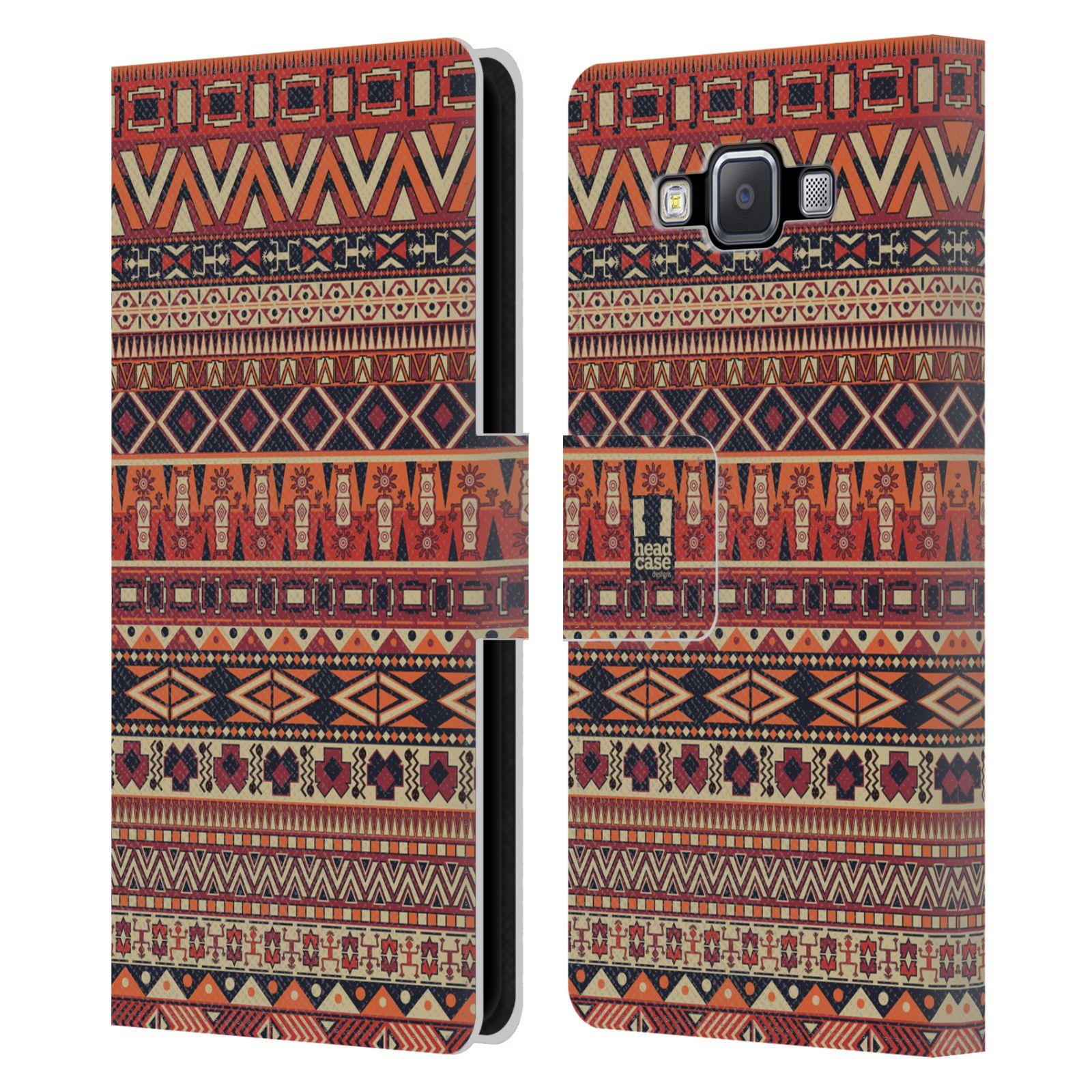 HEAD CASE Flipové pouzdro pro mobil Samsung Galaxy A5 Indiánský vzor RED červená