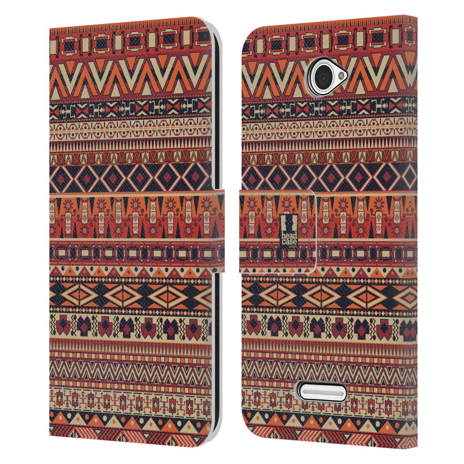 HEAD CASE Flipové pouzdro pro mobil SONY XPERIA E4 Indiánský vzor RED červená