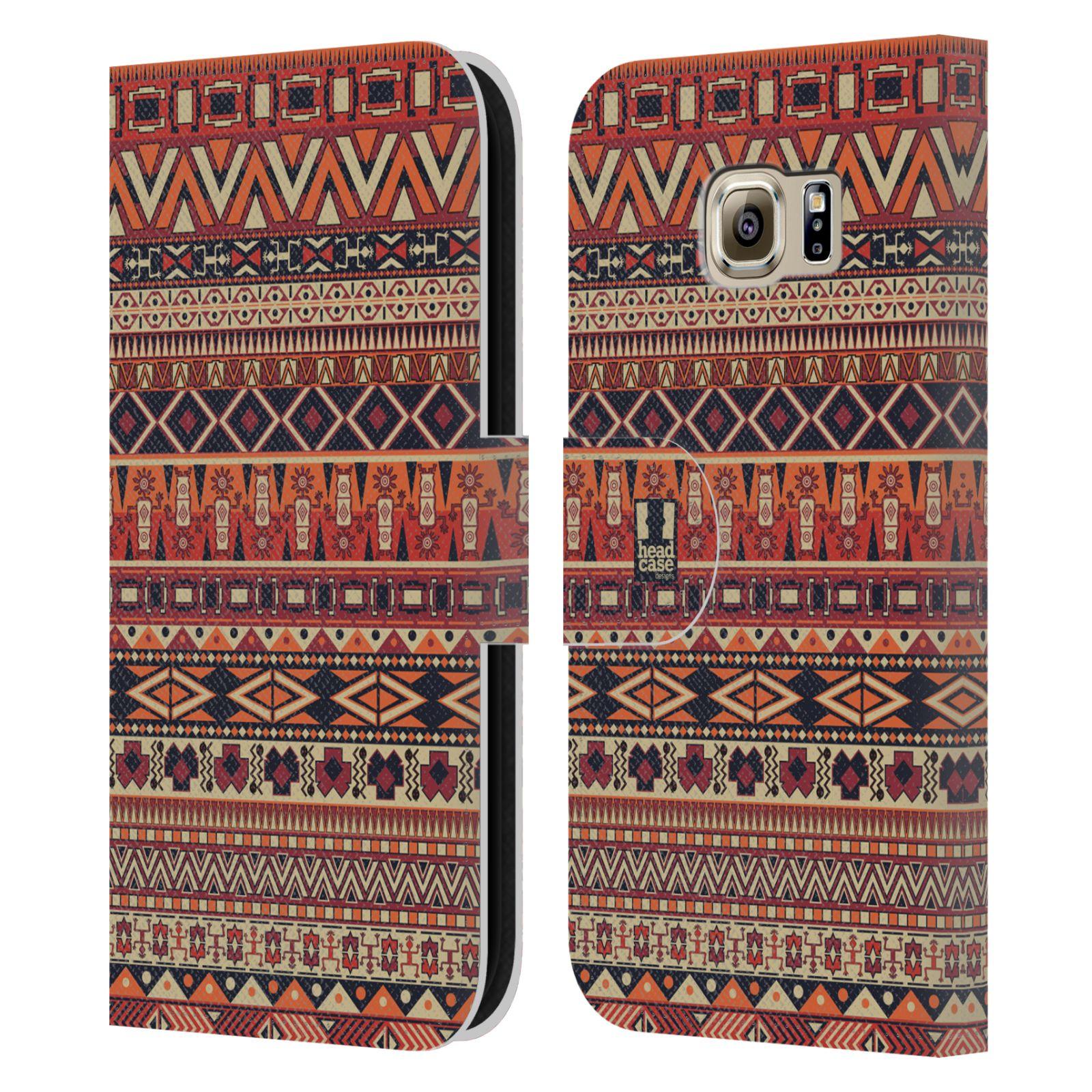 HEAD CASE Flipové pouzdro pro mobil Samsung Galaxy S6 (G9200) Indiánský vzor RED červená