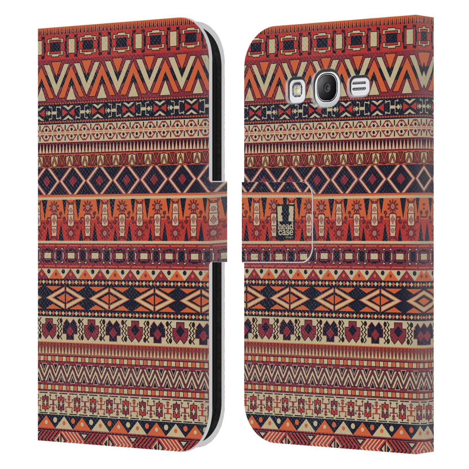 HEAD CASE Flipové pouzdro pro mobil Samsung Galaxy Grand i9080 Indiánský vzor RED červená