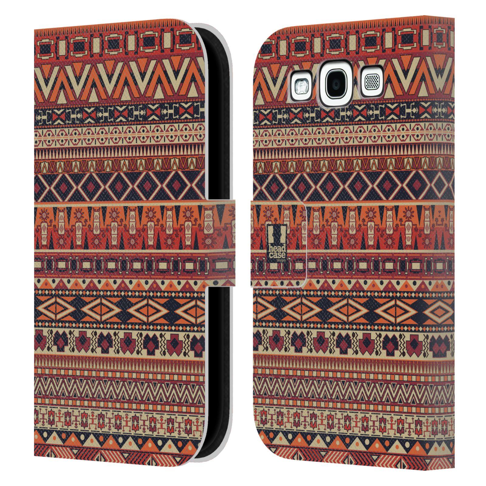 HEAD CASE Flipové pouzdro pro mobil Samsung Galaxy S3 Indiánský vzor RED červená