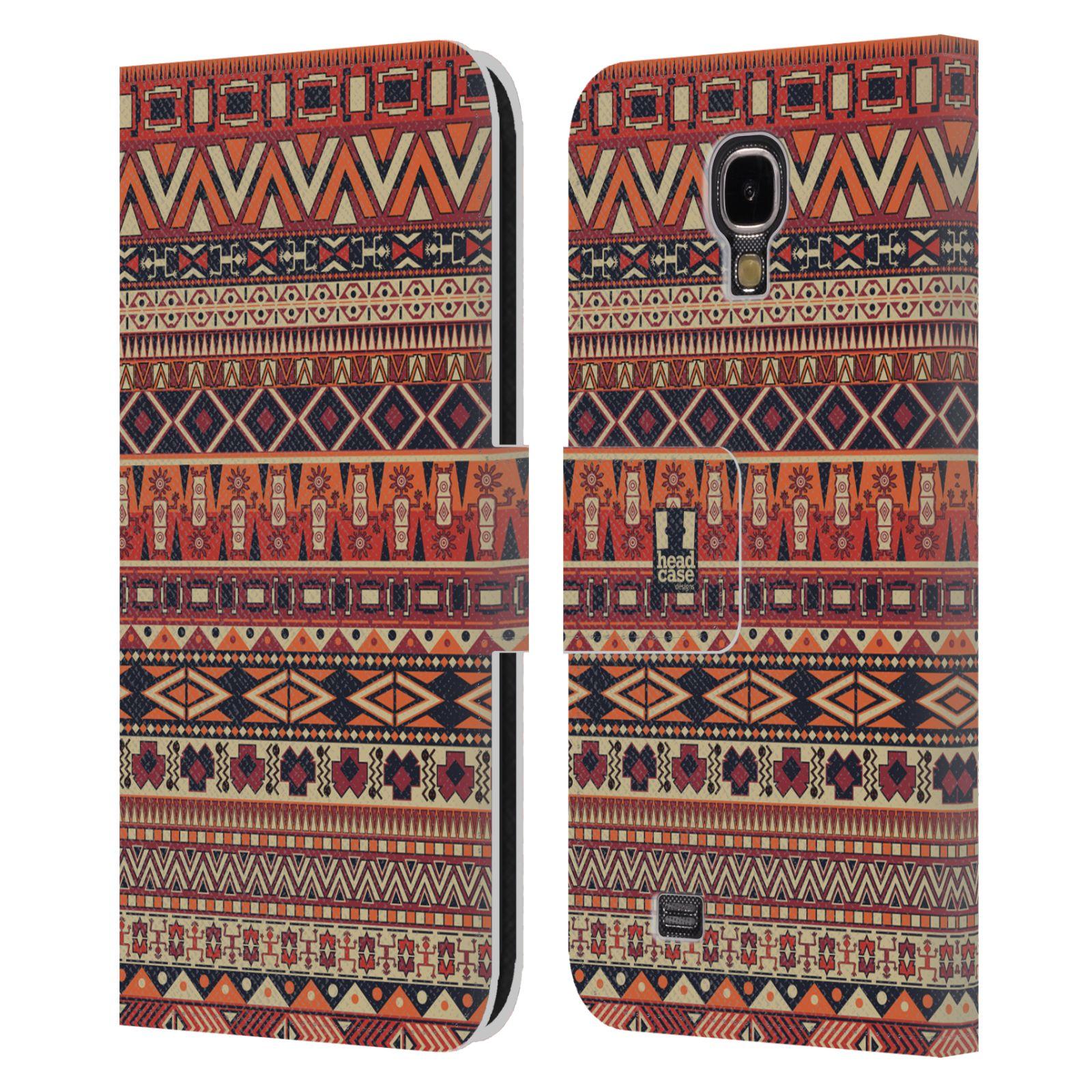 HEAD CASE Flipové pouzdro pro mobil Samsung Galaxy S4 Indiánský vzor RED červená