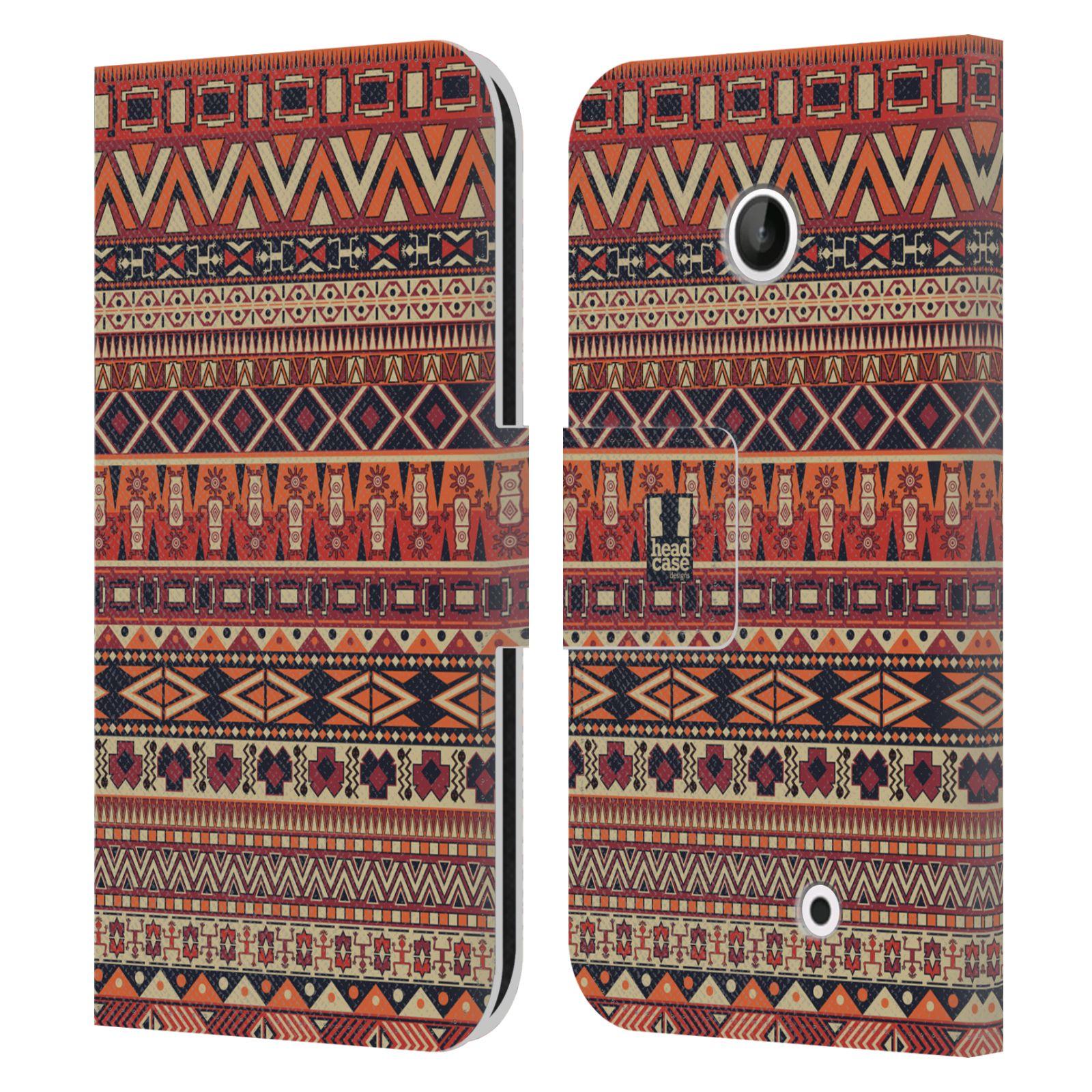 HEAD CASE Flipové pouzdro pro mobil NOKIA LUMIA 630 / LUMIA 630 DUAL Indiánský vzor RED červená