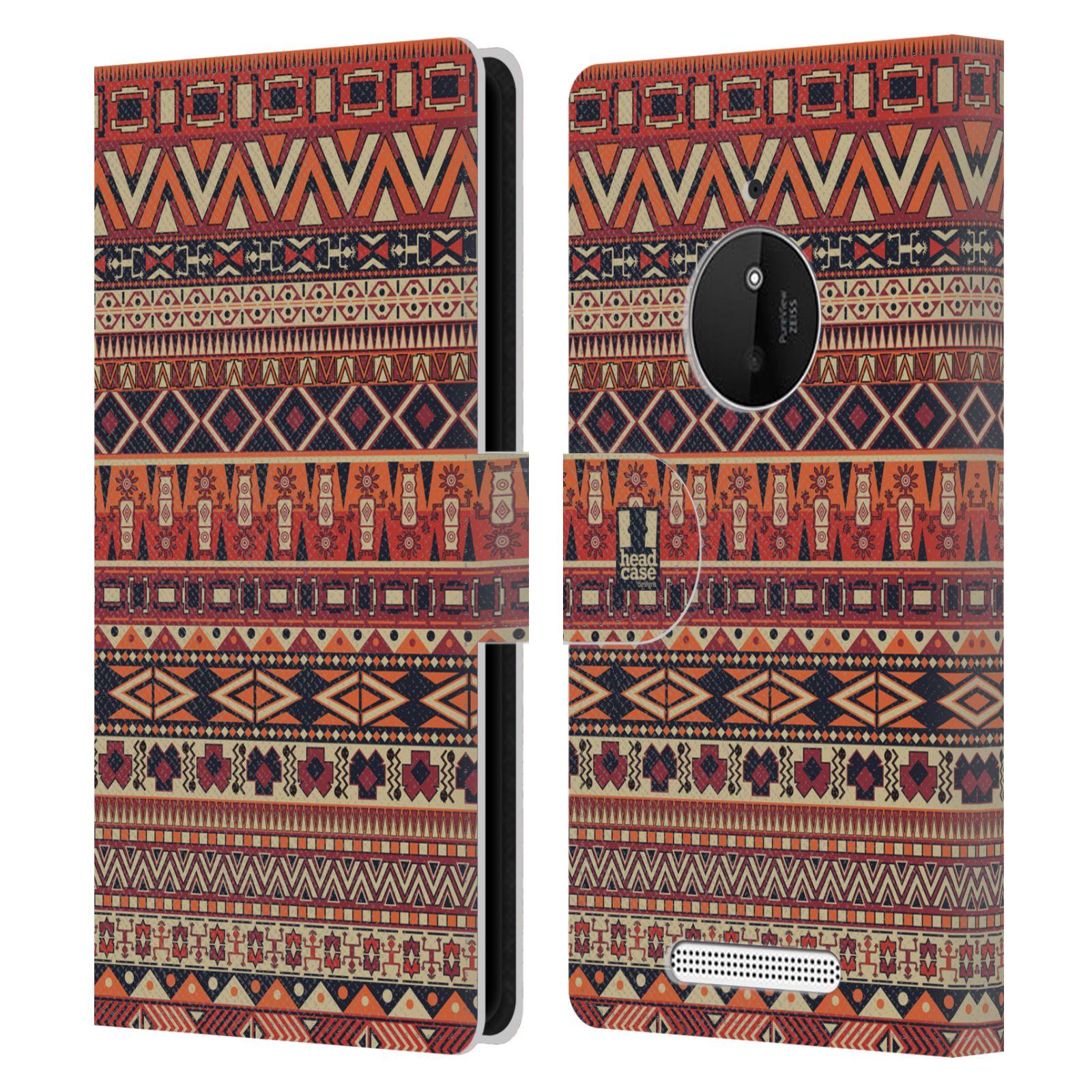 HEAD CASE Flipové pouzdro pro mobil NOKIA LUMIA 830 Indiánský vzor RED červená
