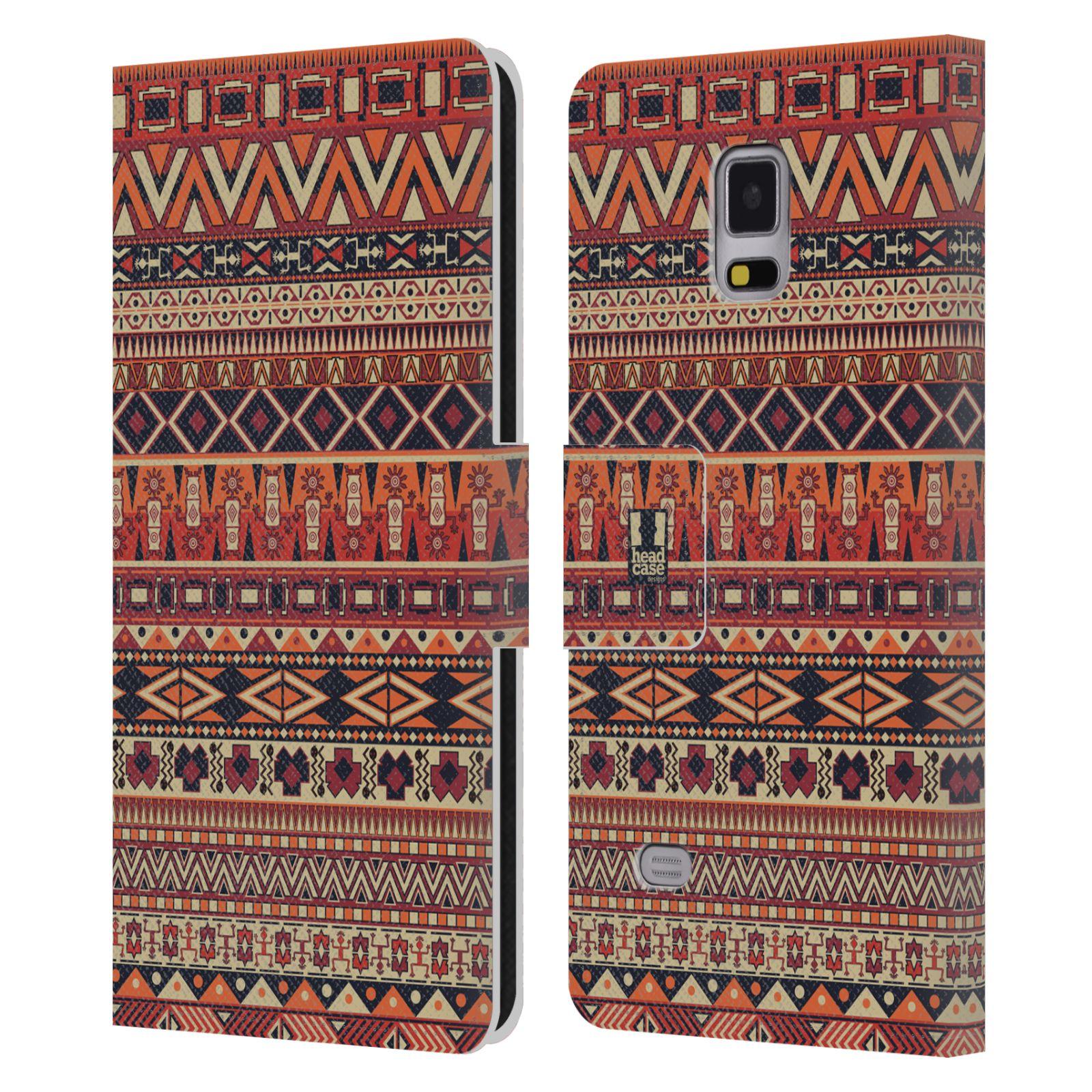 HEAD CASE Flipové pouzdro pro mobil Samsung Galaxy Note 4 Indiánský vzor RED červená