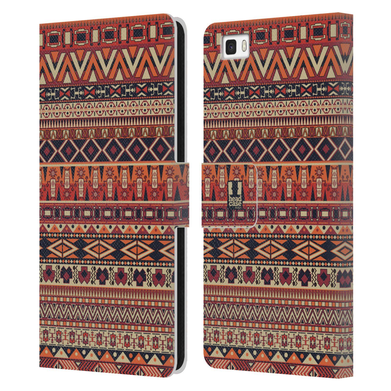 HEAD CASE Flipové pouzdro pro mobil Huawei P8 LITE Indiánský vzor RED červená
