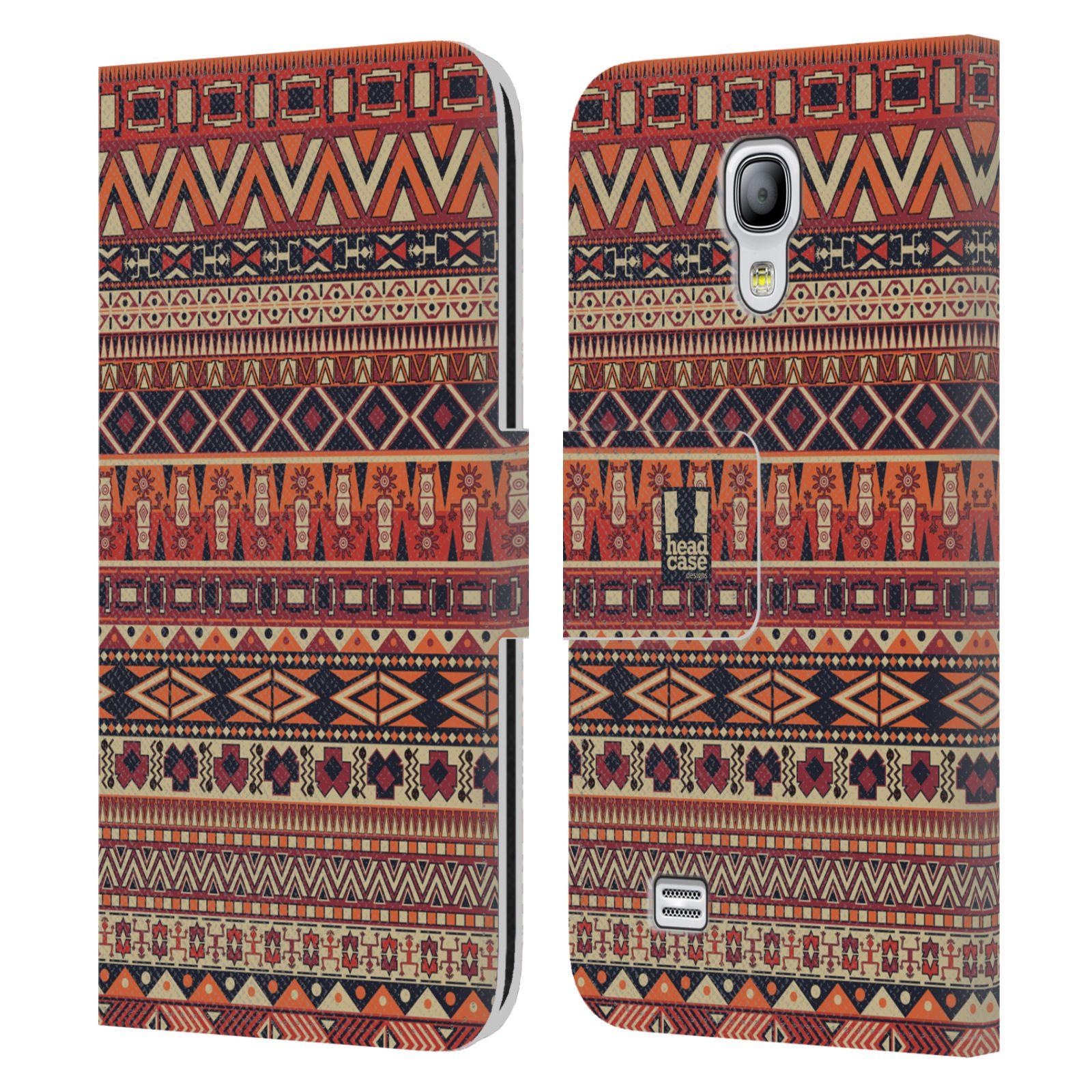 HEAD CASE Flipové pouzdro pro mobil Samsung Galaxy S4 MINI / S4 MINI DUOS Indiánský vzor RED červená