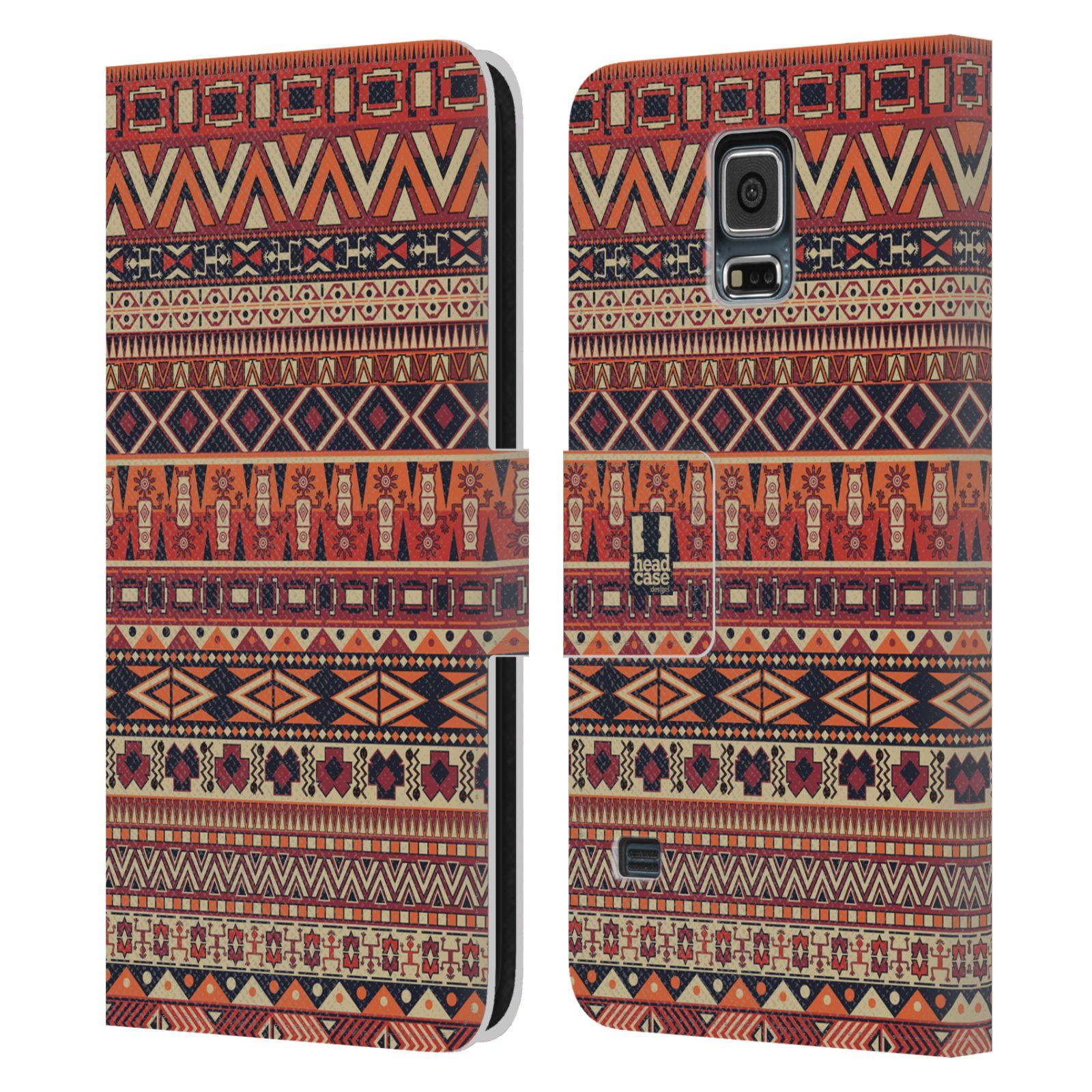 HEAD CASE Flipové pouzdro pro mobil Samsung Galaxy S5 / S5 NEO Indiánský vzor RED červená