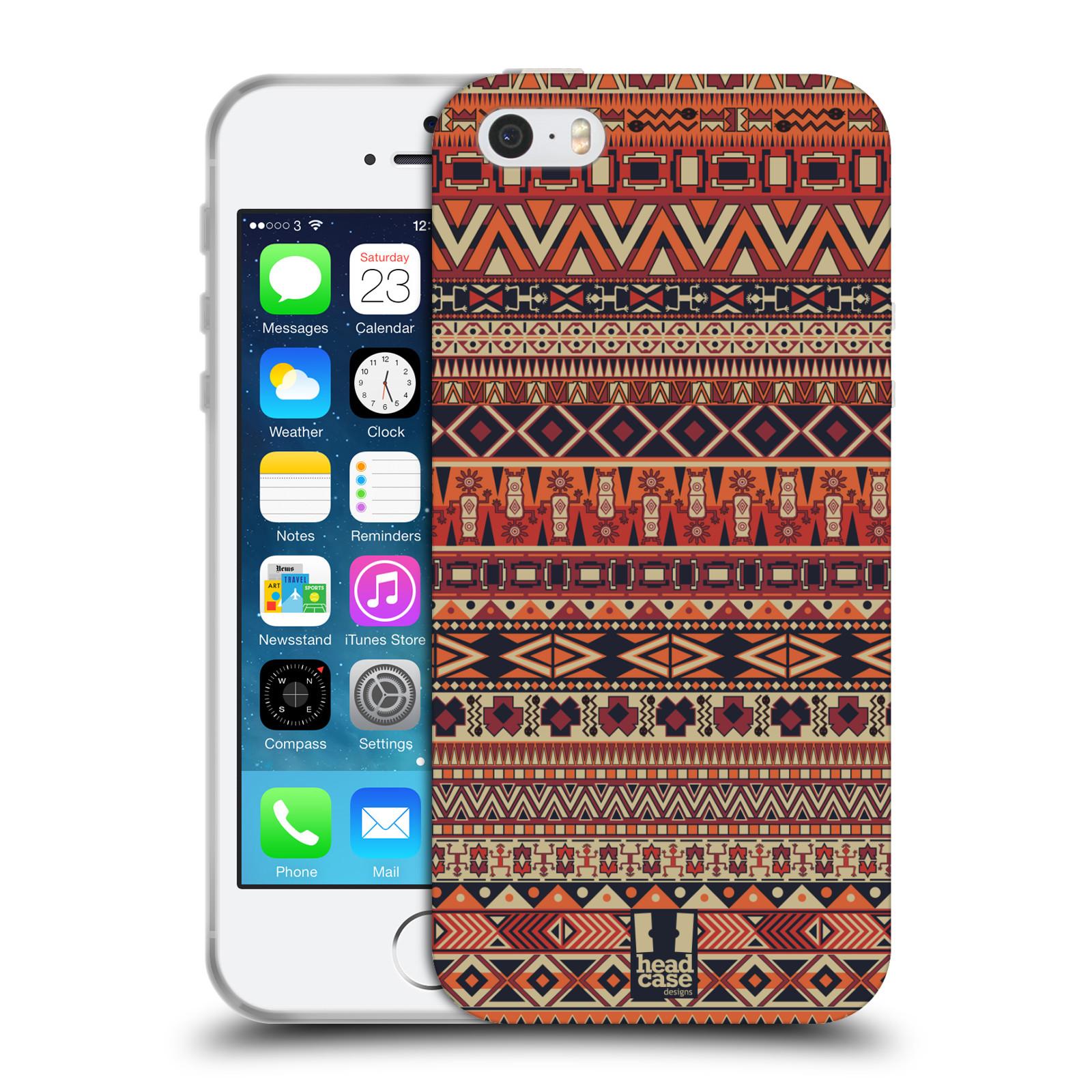 26880dd237 HEAD CASE silikonový obal na mobil Apple Iphone 5 5S vzor Indiánský vzor  ČERVENÁ