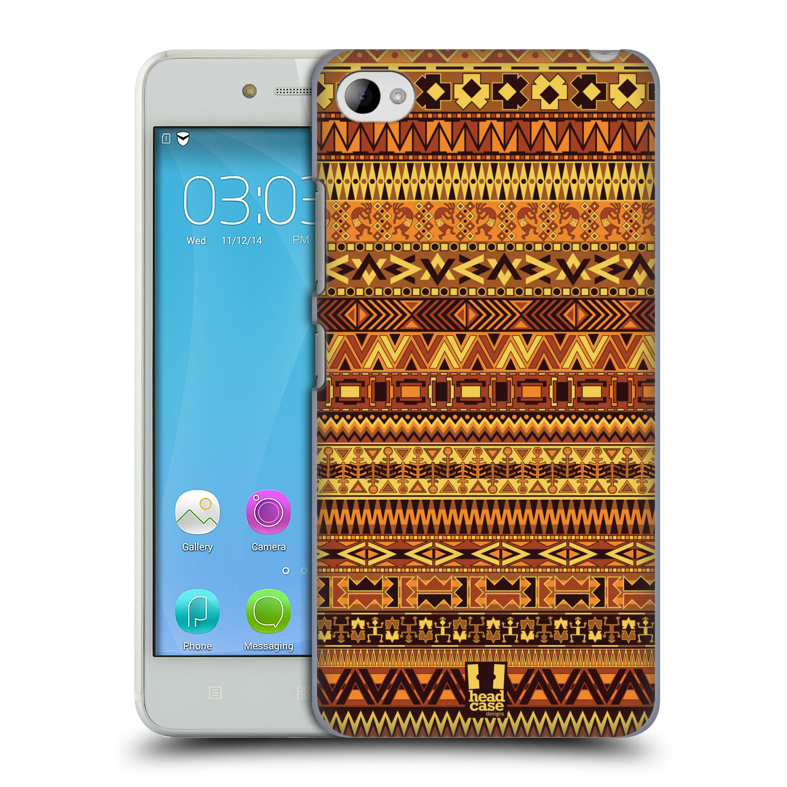 HEAD CASE pevný plastový obal na mobil LENOVO S90 vzor Indiánský vzor ŽLUTÁ