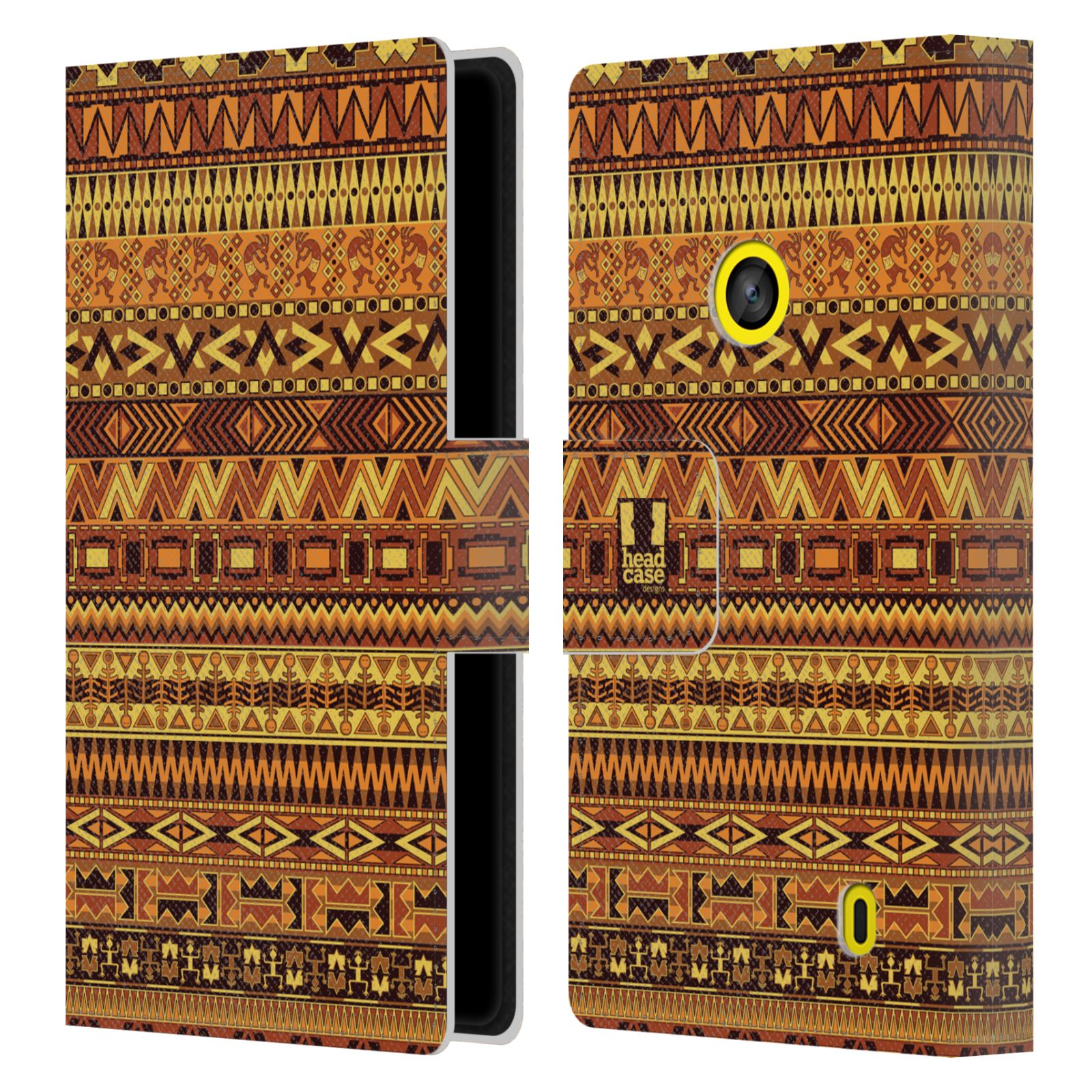 HEAD CASE Flipové pouzdro pro mobil NOKIA LUMIA 520 / 525 Indiánský vzor YELLOW žlutá