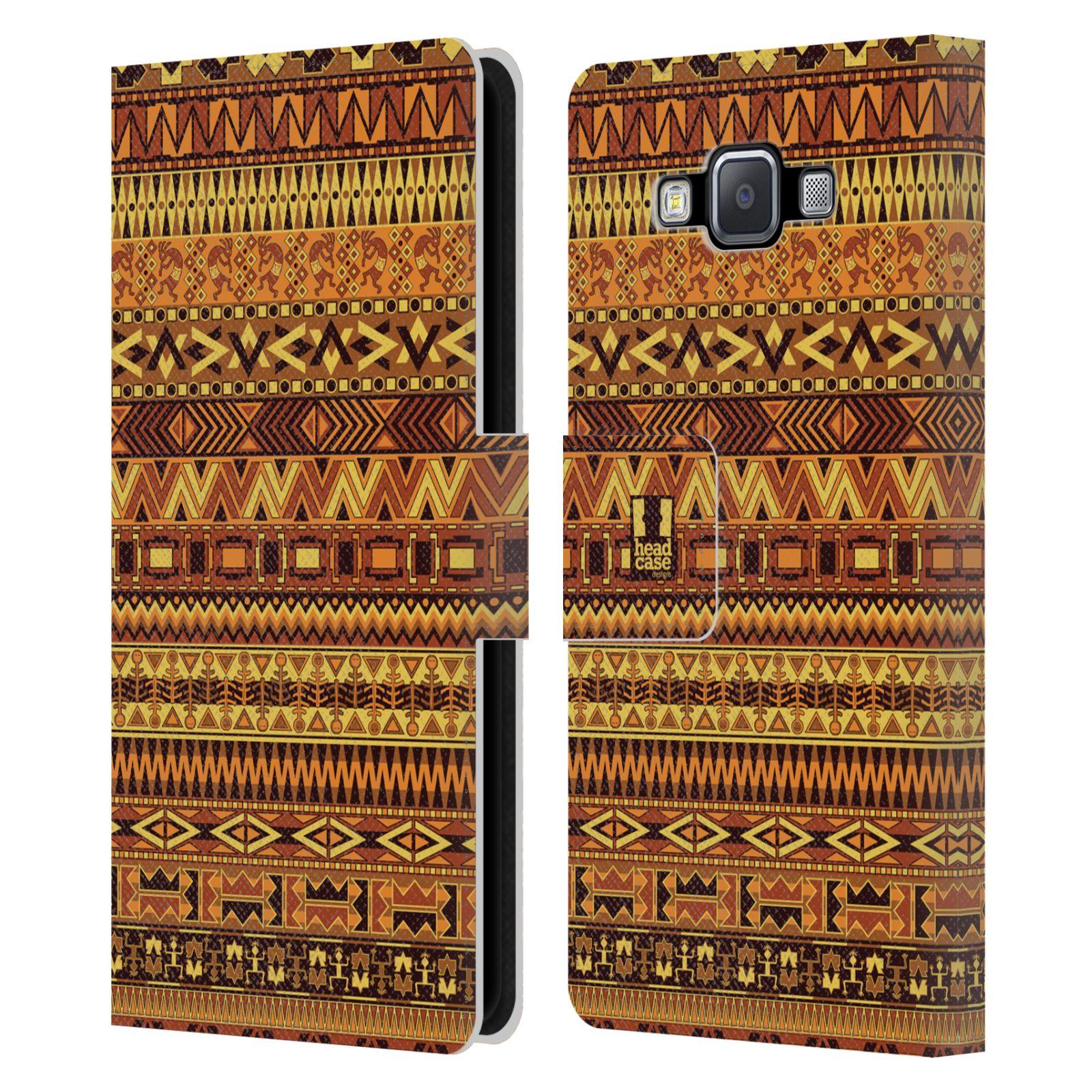 HEAD CASE Flipové pouzdro pro mobil Samsung Galaxy A5 Indiánský vzor YELLOW žlutá
