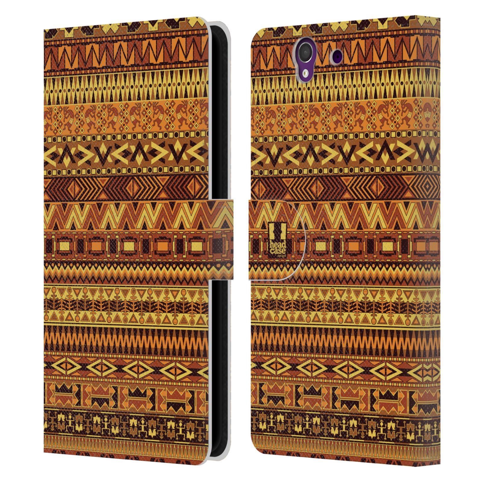 HEAD CASE Flipové pouzdro pro mobil SONY XPERIA Z (C6603) Indiánský vzor YELLOW žlutá