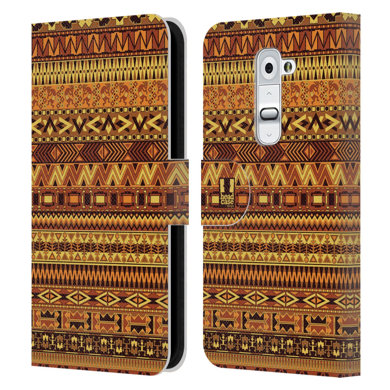 HEAD CASE Flipové pouzdro pro mobil LG G2 (D802) Indiánský vzor YELLOW žlutá
