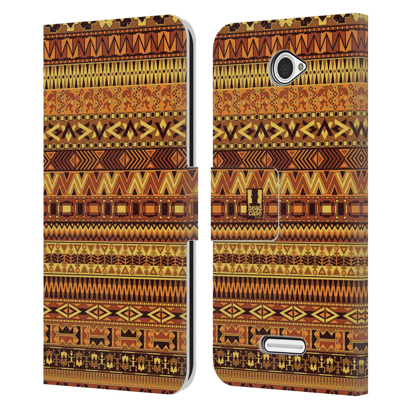 HEAD CASE Flipové pouzdro pro mobil SONY XPERIA E4 Indiánský vzor YELLOW žlutá