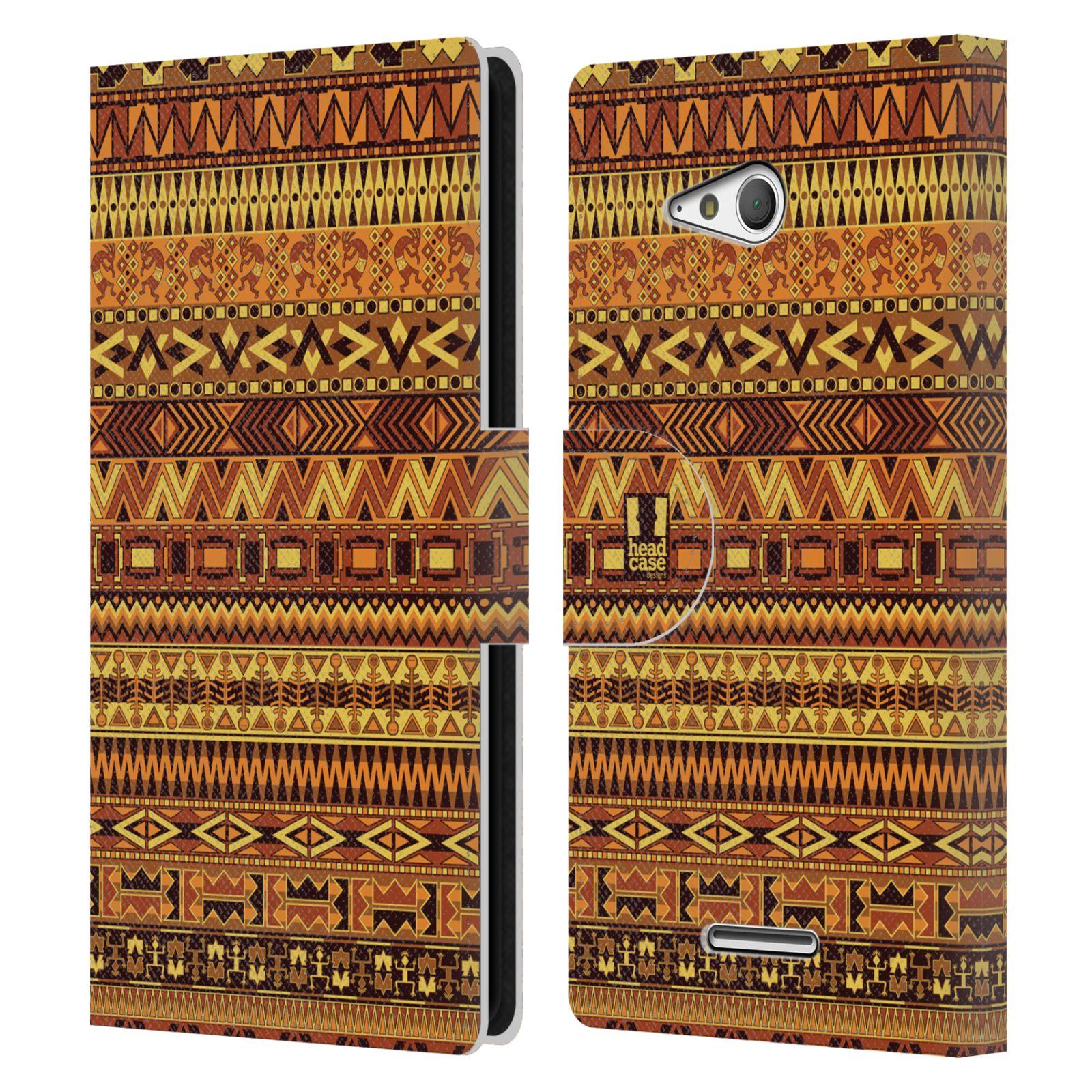 HEAD CASE Flipové pouzdro pro mobil SONY XPERIA E4g Indiánský vzor YELLOW žlutá