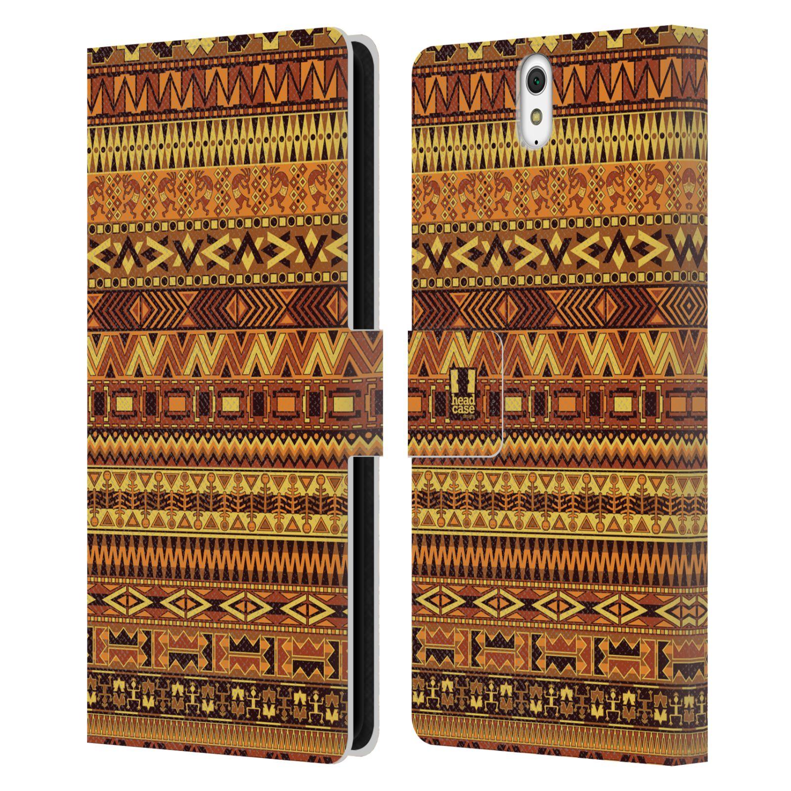 HEAD CASE Flipové pouzdro pro mobil SONY XPERIA C5 Ultra Indiánský vzor YELLOW žlutá
