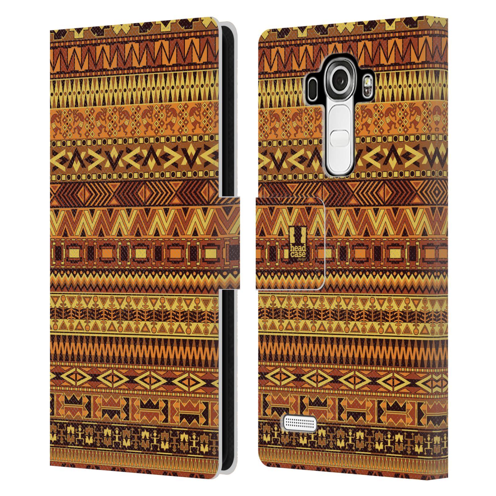 HEAD CASE Flipové pouzdro pro mobil LG G4 (H815) Indiánský vzor YELLOW žlutá