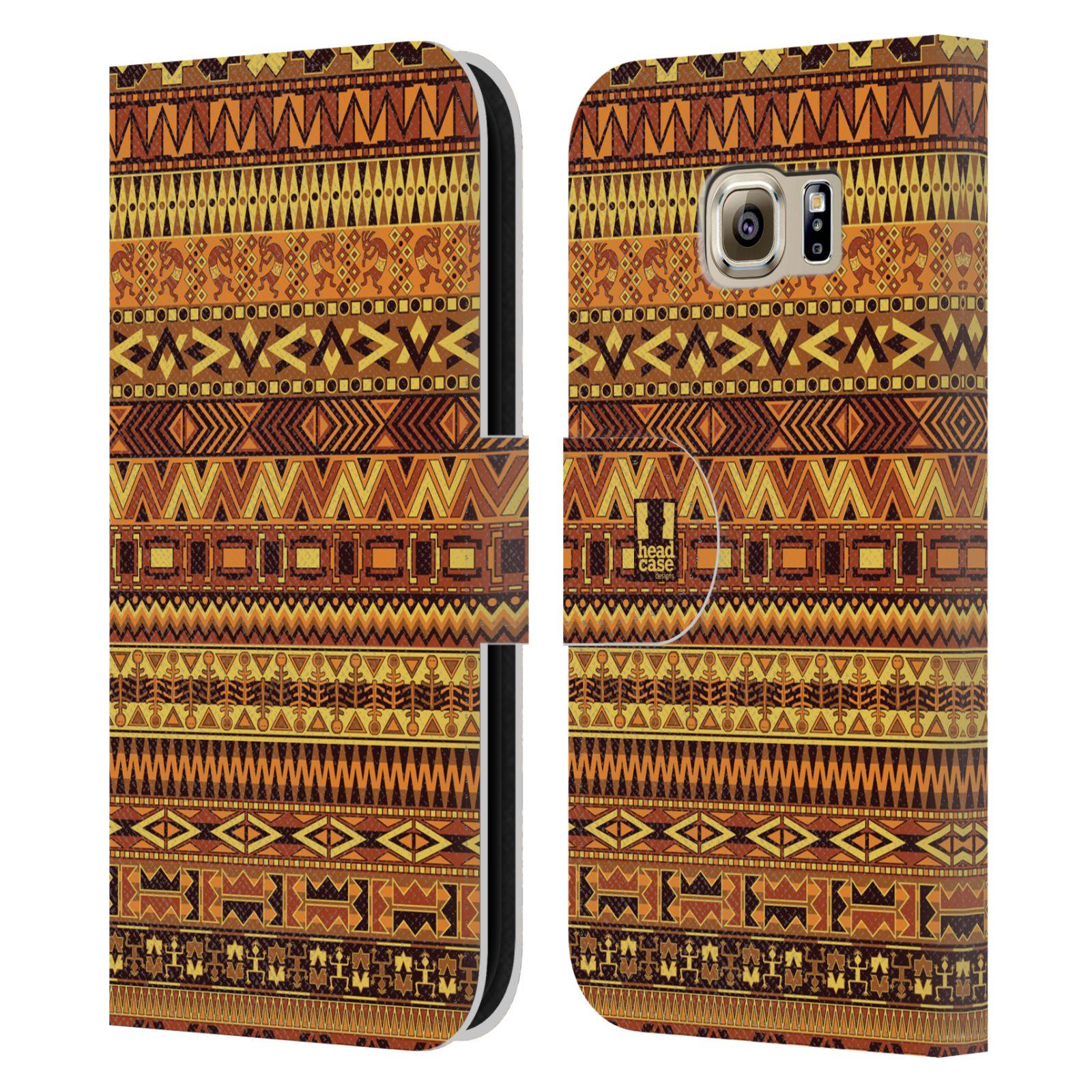 HEAD CASE Flipové pouzdro pro mobil Samsung Galaxy S6 (G9200) Indiánský vzor YELLOW žlutá