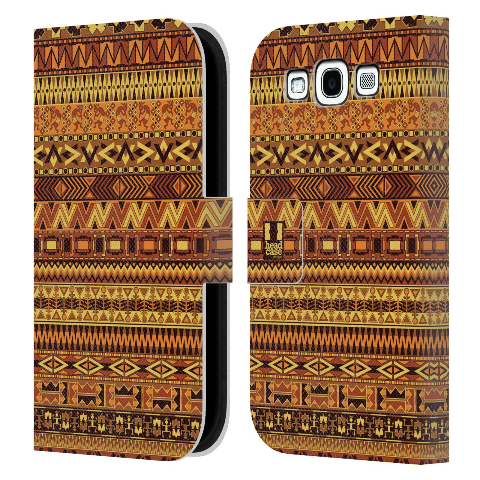 HEAD CASE Flipové pouzdro pro mobil Samsung Galaxy S3 Indiánský vzor YELLOW žlutá