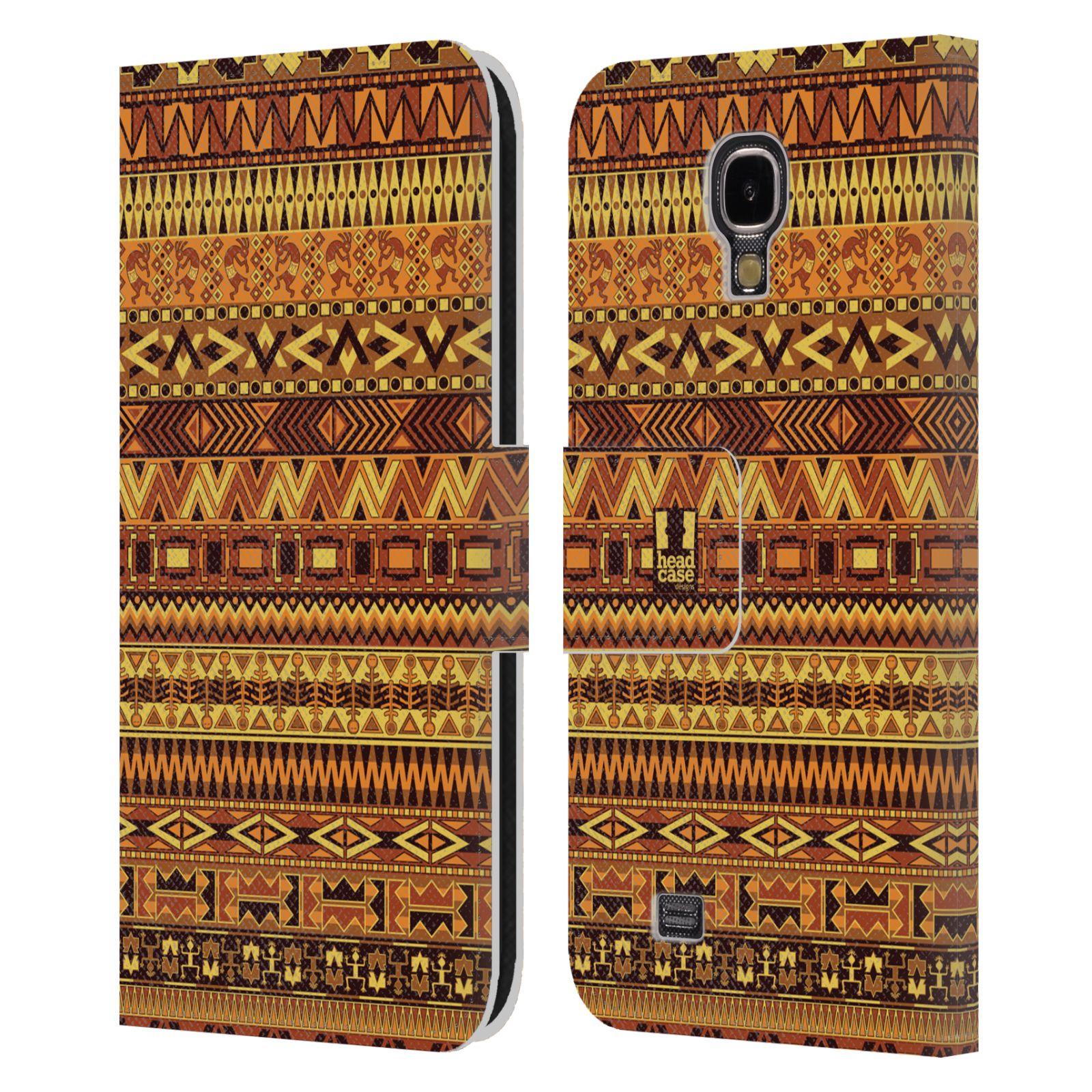 HEAD CASE Flipové pouzdro pro mobil Samsung Galaxy S4 Indiánský vzor YELLOW žlutá