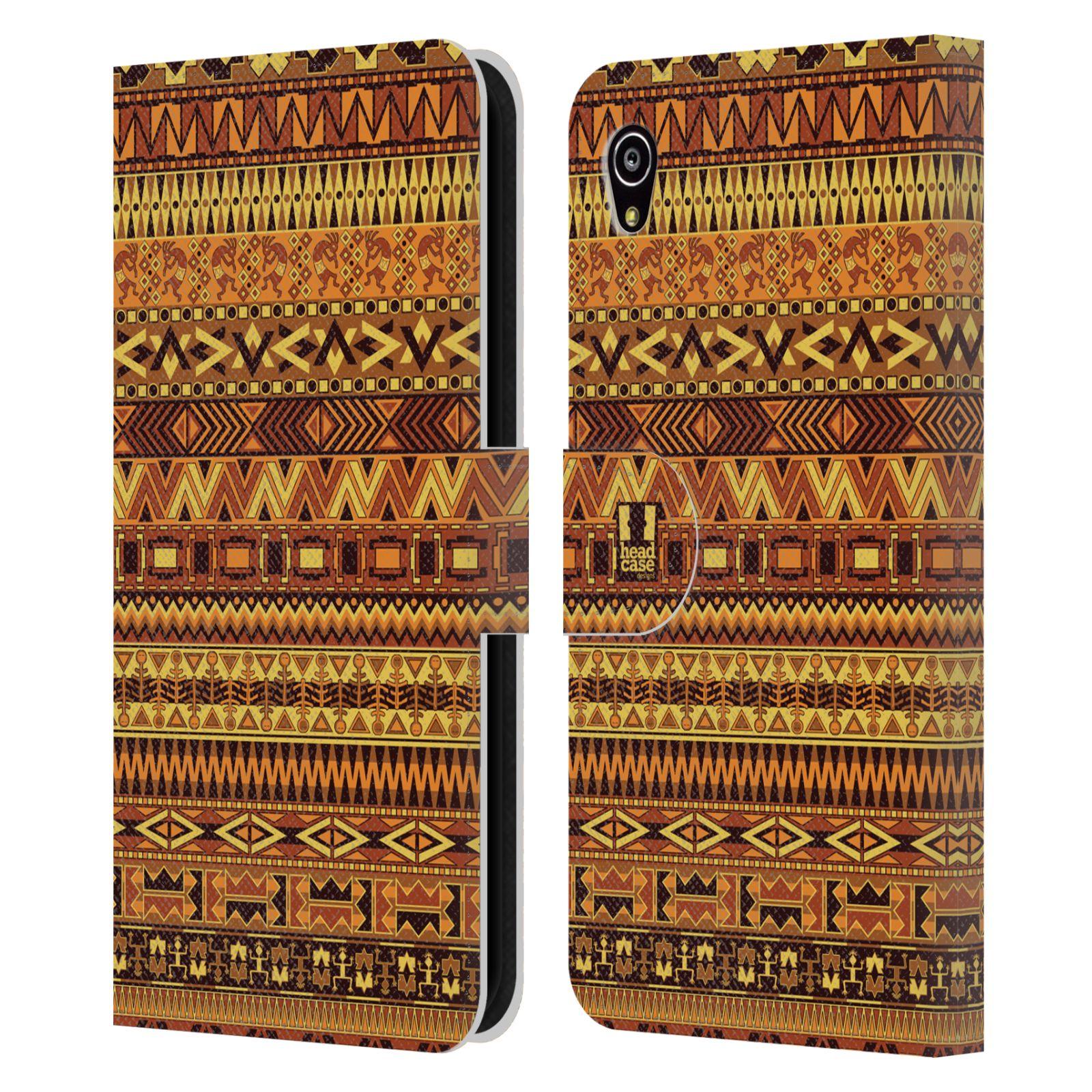 HEAD CASE Flipové pouzdro pro mobil SONY XPERIA M4 AQUA Indiánský vzor YELLOW žlutá