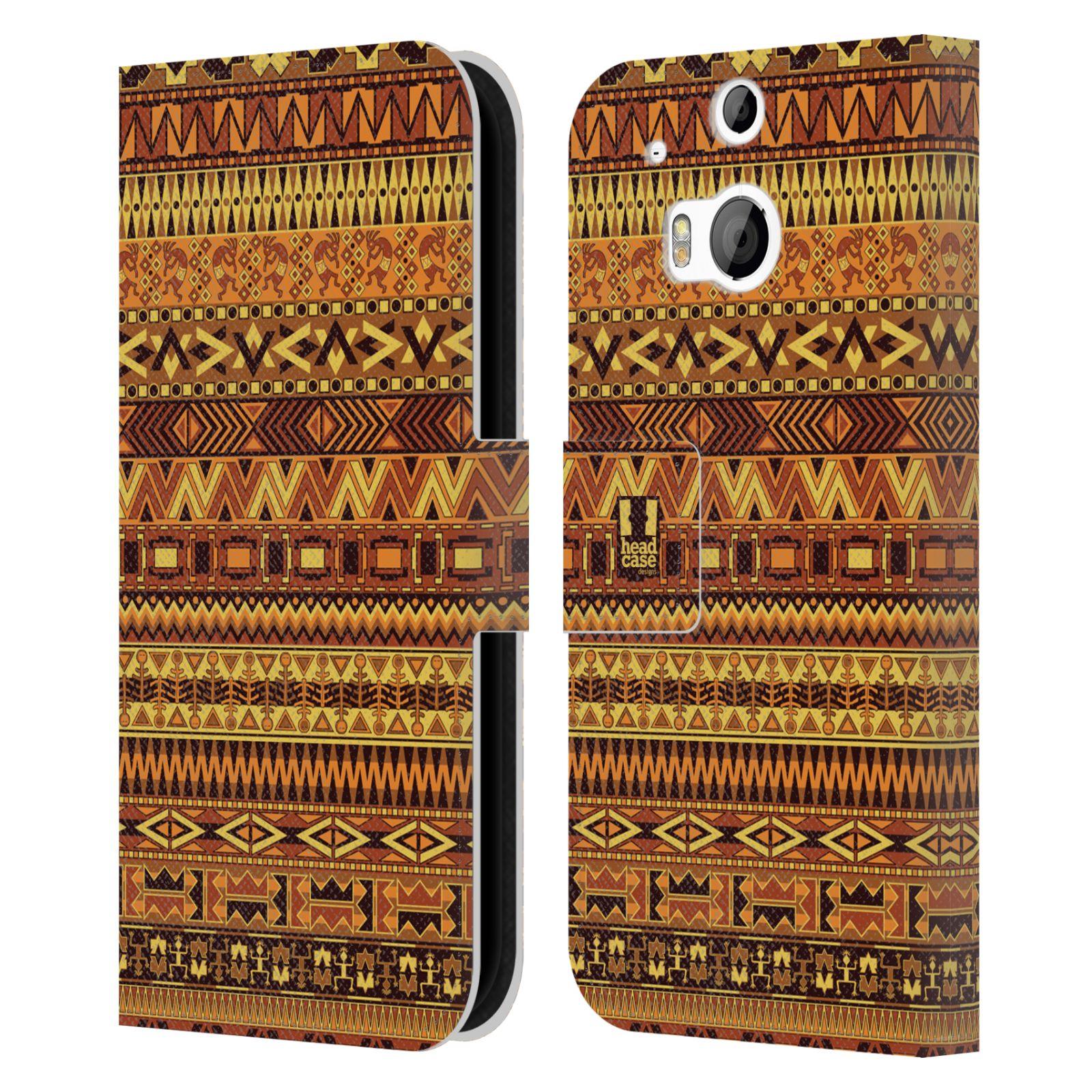 HEAD CASE Flipové pouzdro pro mobil HTC ONE (M8, M8s) Indiánský vzor YELLOW žlutá