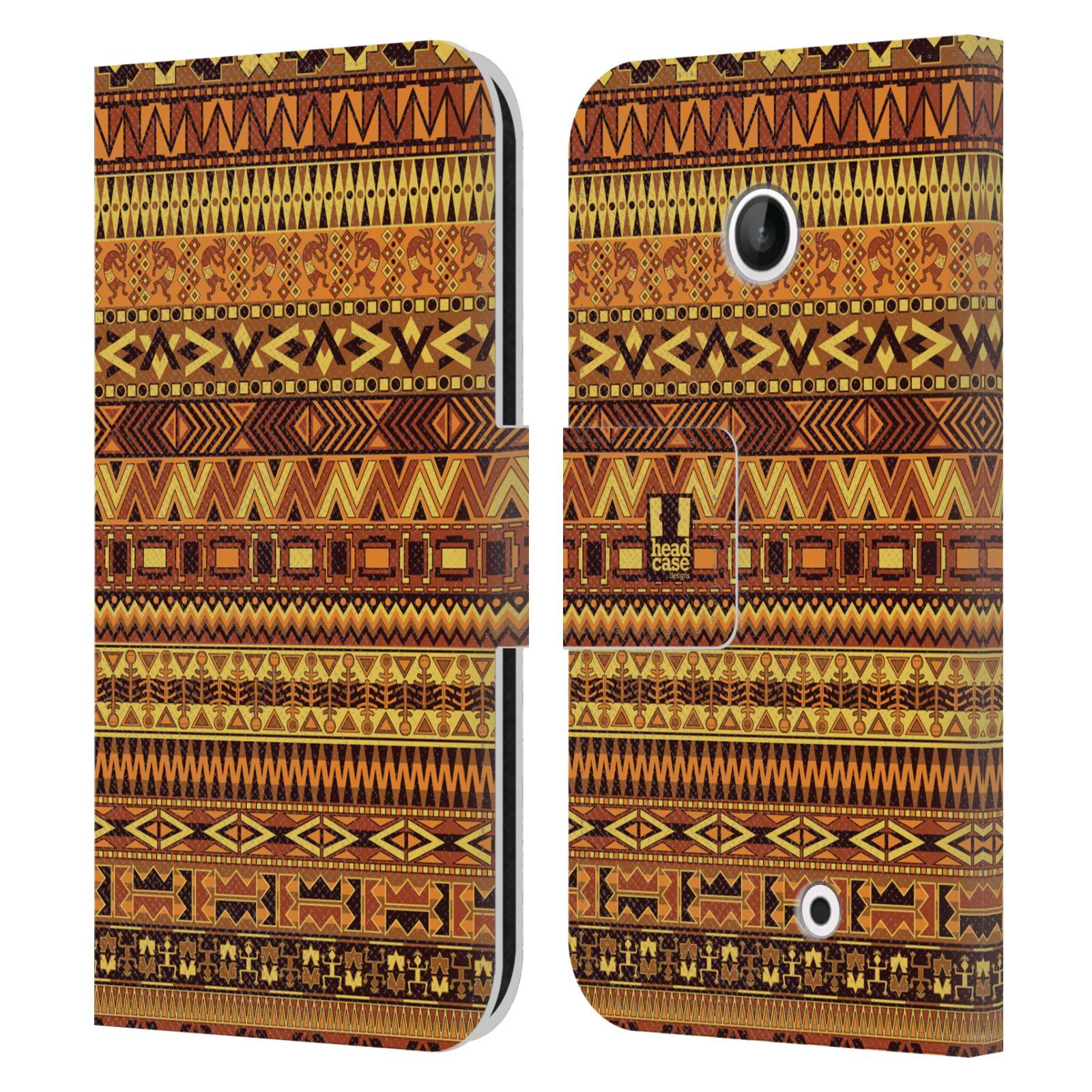 HEAD CASE Flipové pouzdro pro mobil NOKIA LUMIA 630 / LUMIA 630 DUAL Indiánský vzor YELLOW žlutá