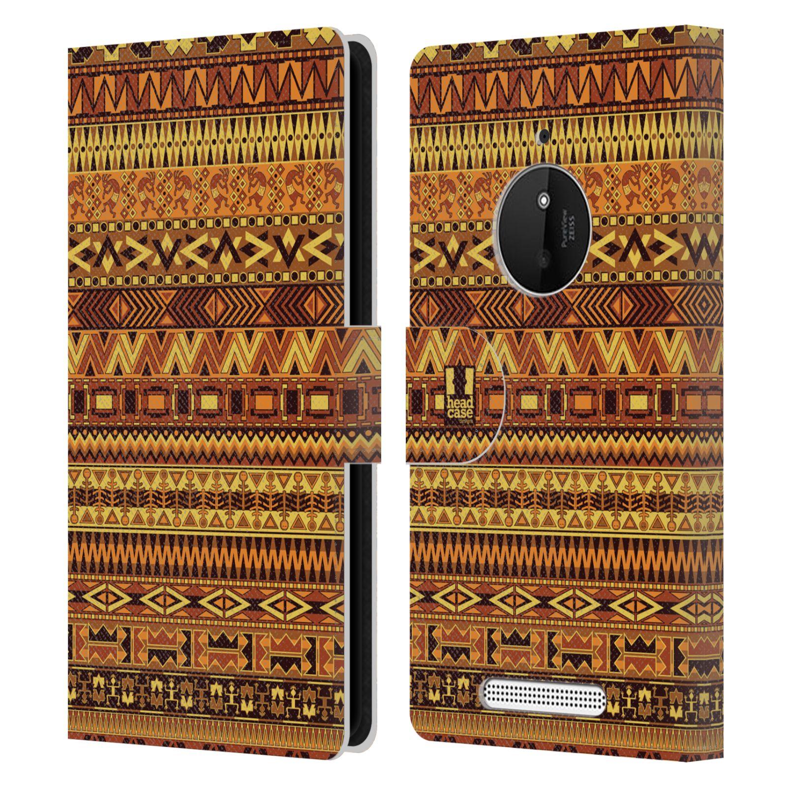 HEAD CASE Flipové pouzdro pro mobil NOKIA LUMIA 830 Indiánský vzor YELLOW žlutá