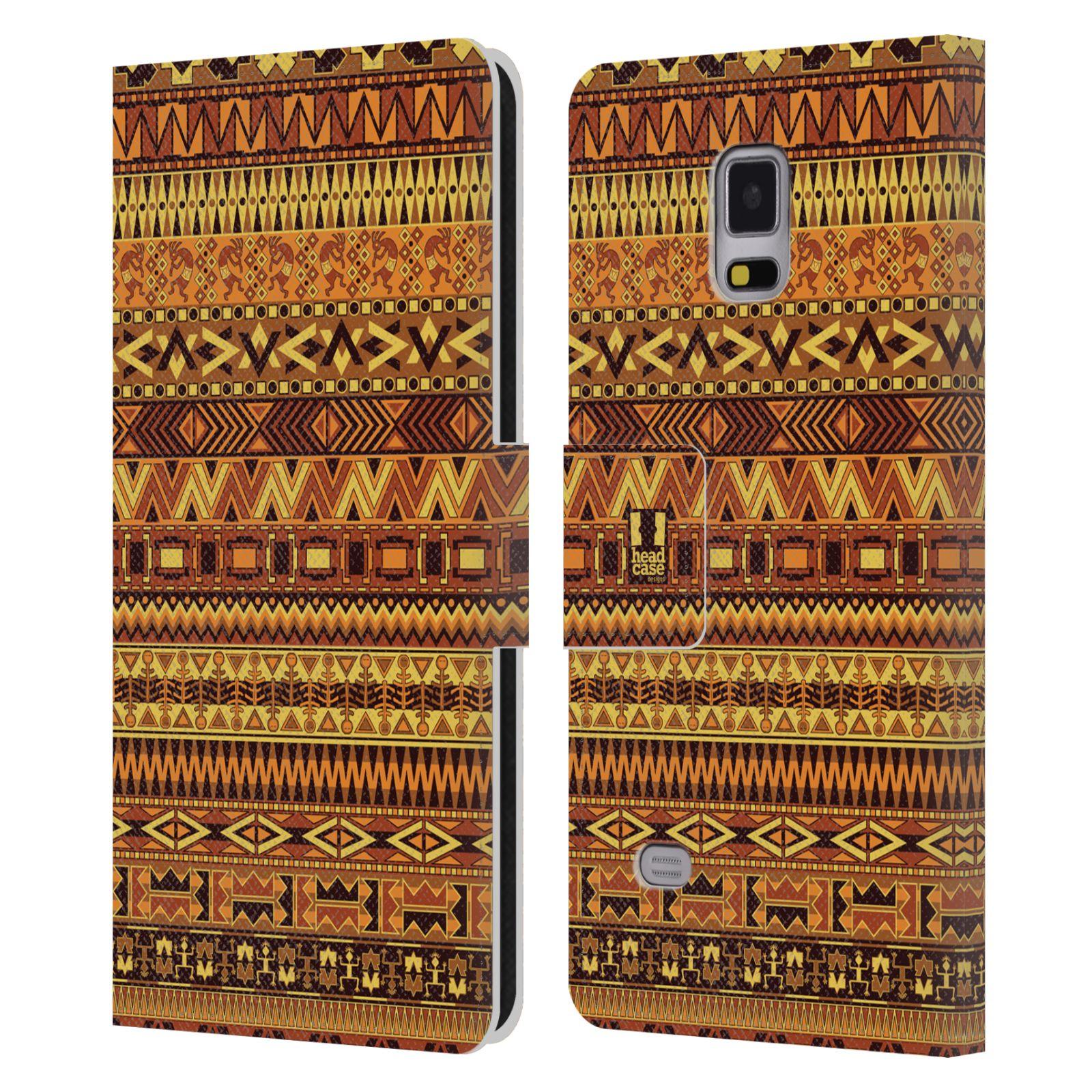 HEAD CASE Flipové pouzdro pro mobil Samsung Galaxy Note 4 Indiánský vzor YELLOW žlutá