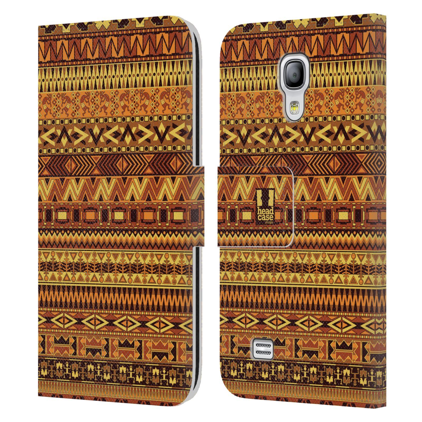 HEAD CASE Flipové pouzdro pro mobil Samsung Galaxy S4 MINI / S4 MINI DUOS Indiánský vzor YELLOW žlutá