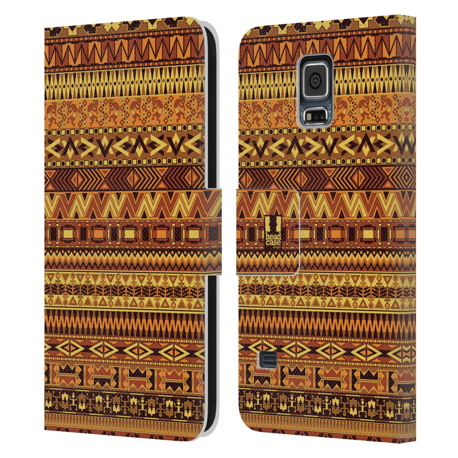 HEAD CASE Flipové pouzdro pro mobil Samsung Galaxy S5 / S5 NEO Indiánský vzor YELLOW žlutá
