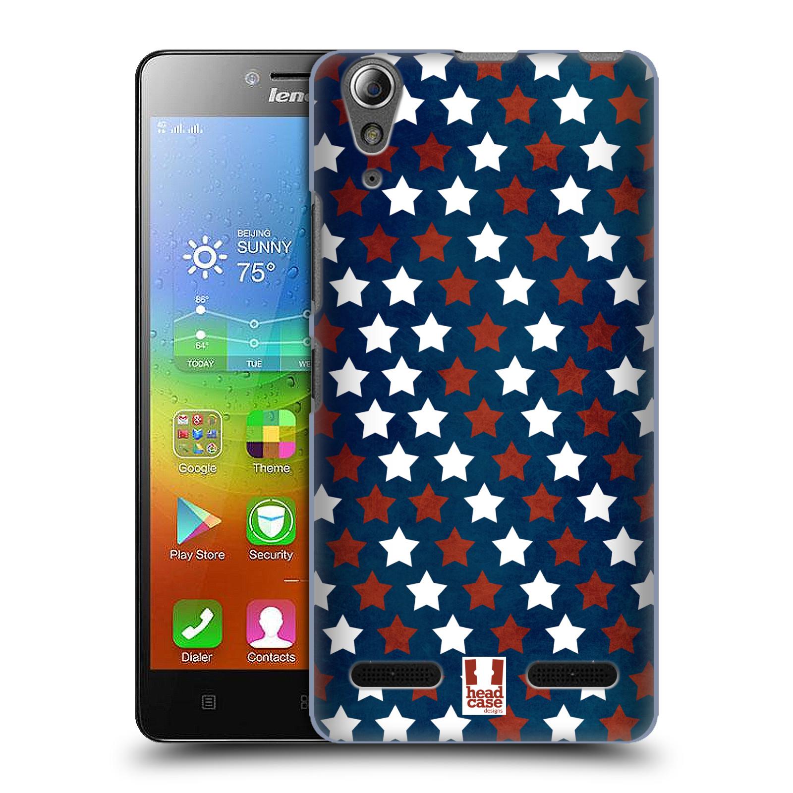 HEAD CASE pevný plastový obal na mobil LENOVO A6000 / A6000 PLUS vzor USA VLAJKA HVĚZDY V MODRÉM