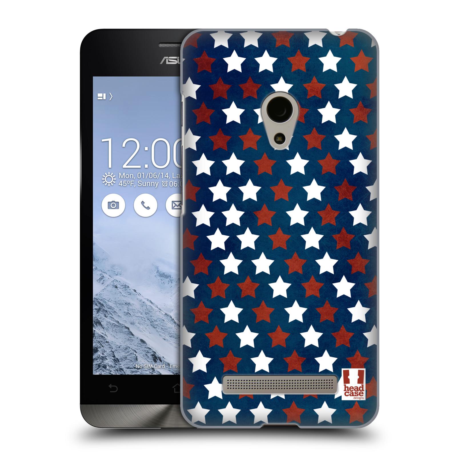 HEAD CASE plastový obal na mobil Asus Zenfone 5 vzor USA VLAJKA HVĚZDY V MODRÉM