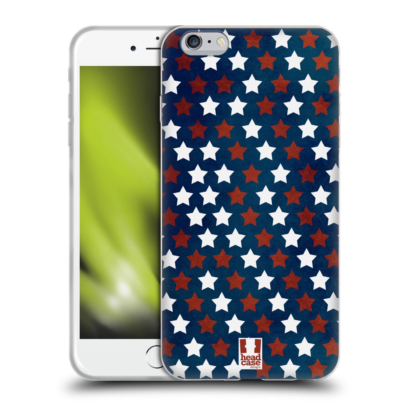 HEAD CASE silikonový obal na mobil Apple Iphone 6 PLUS/ 6S PLUS vzor USA VLAJKA HVĚZDY V MODRÉM