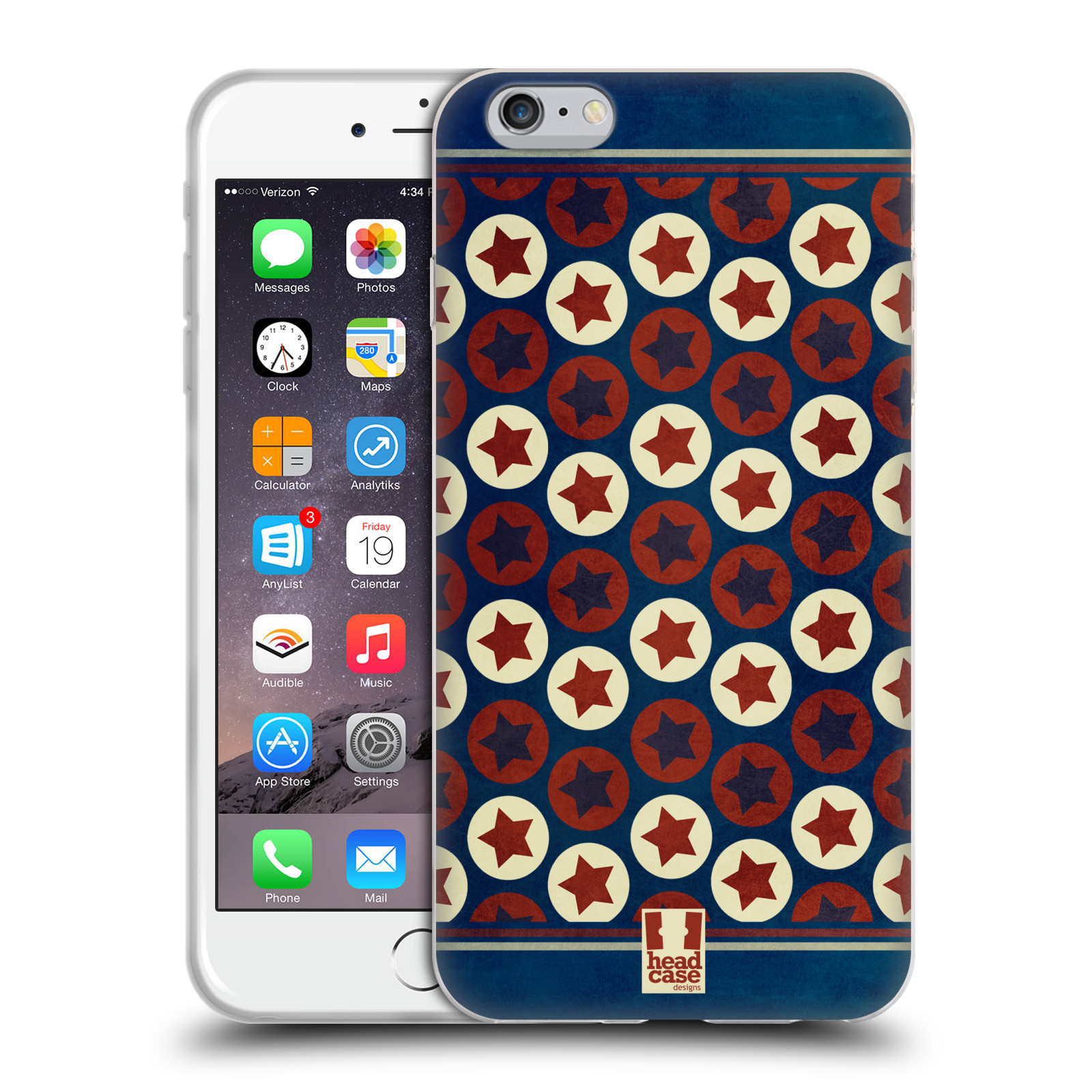 HEAD CASE silikonový obal na mobil Apple Iphone 6 PLUS/ 6S PLUS vzor USA VLAJKA KRUHY A HVĚZDY