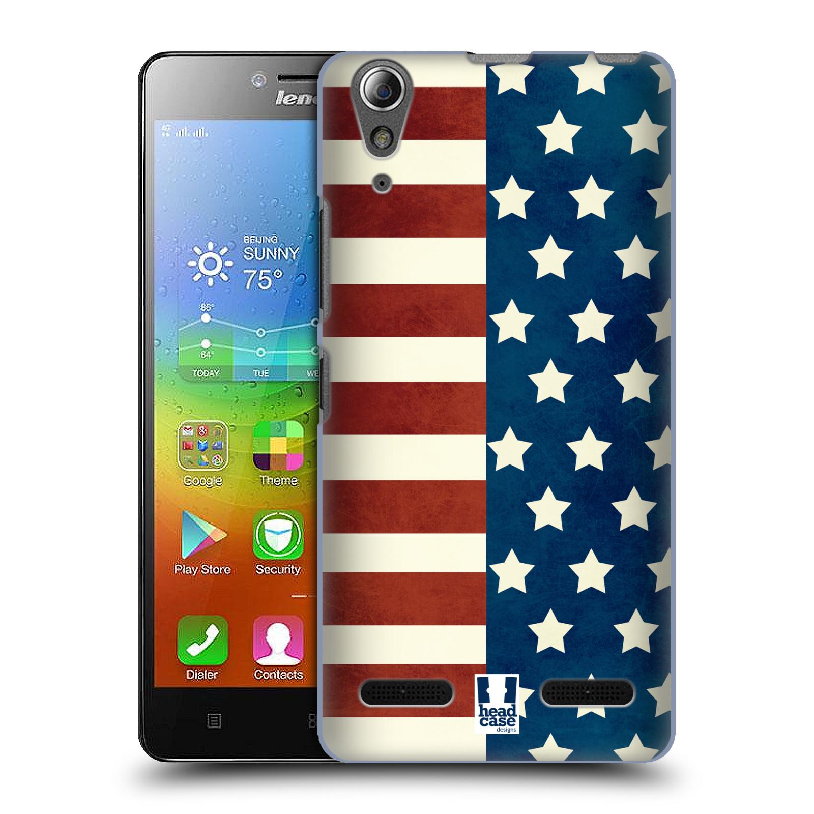 HEAD CASE pevný plastový obal na mobil LENOVO A6000 / A6000 PLUS vzor USA VLAJKA HVĚZDY A PRUHY