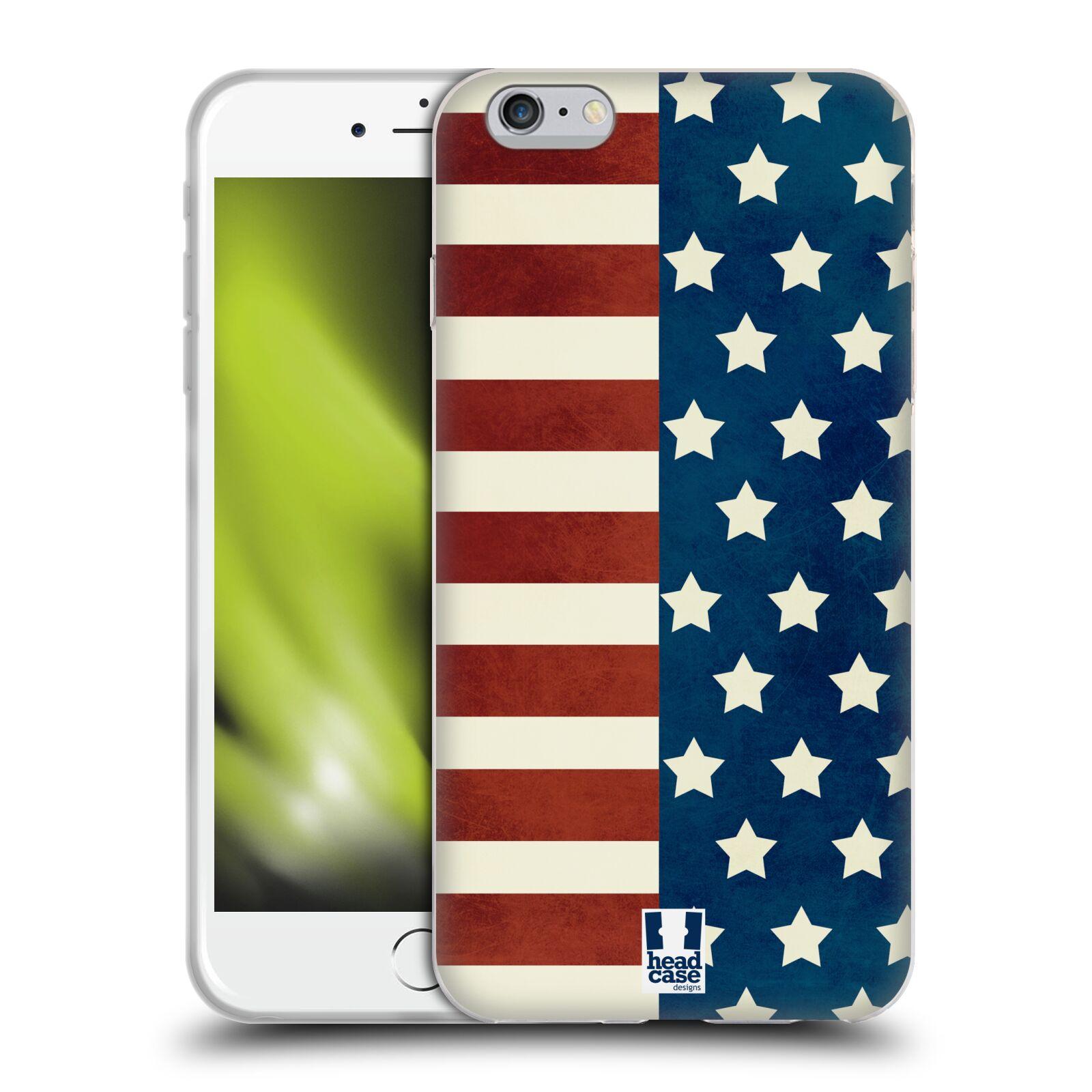 HEAD CASE silikonový obal na mobil Apple Iphone 6 PLUS/ 6S PLUS vzor USA VLAJKA HVĚZDY A PRUHY